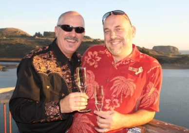 Me (r) and Randy (l) at River's End in Jenner, CA. Champagne features heavily for us!