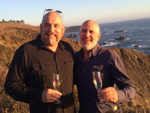 Me (l) and Randy (r) enjoying some bubbly at the family's place on the coast in Albion, CA.