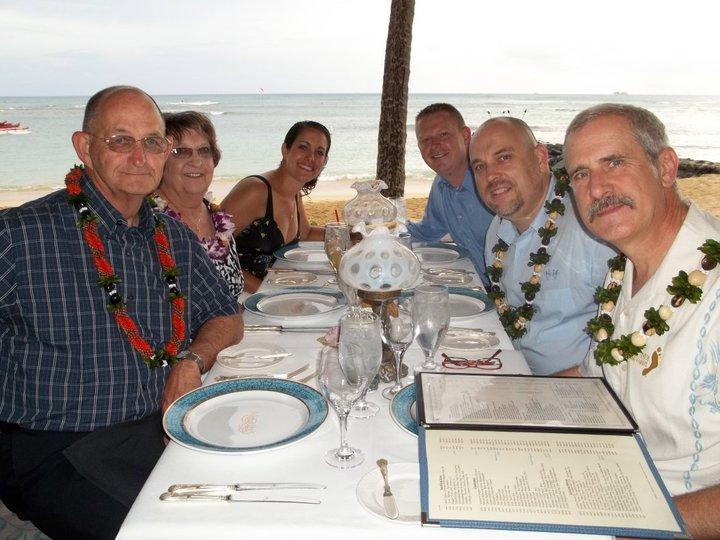 The family enjoying a retirement dinner at Michel's, Honolulu.