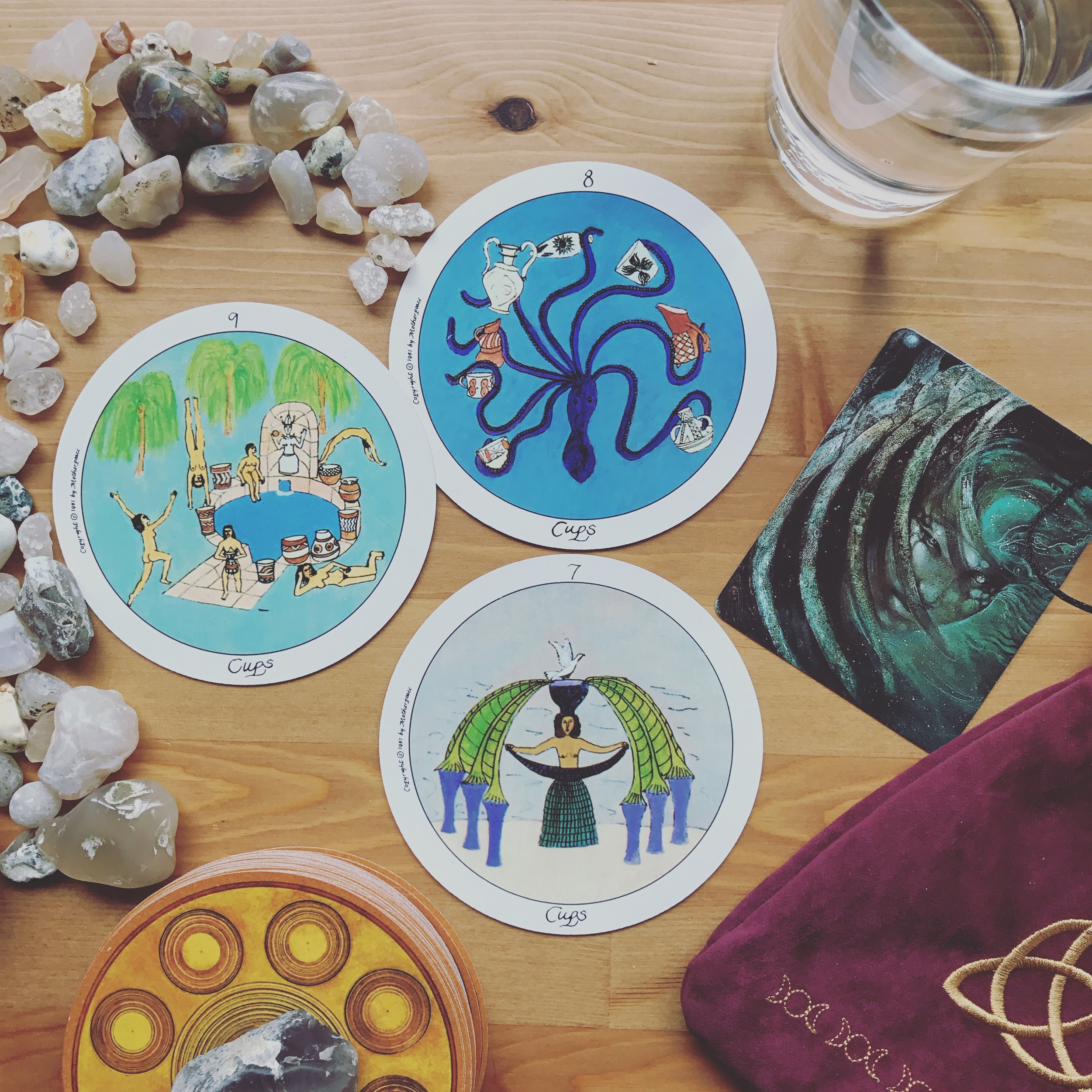Water is life.  Water is life and Native American treaties must be honored.  Water is life and human rights are at stake.  Water is life and the needs of the people should be given a higher priority than oil in this country.  The fight for water is the fight for all of our lives. So I pray and think and cry and shuffle. The 8 of cups jumps out, how fitting. I finish shuffling and draw the 9 of cups, the wish card, and the 7 of cups, the card of illusion. I'm taken aback. This draw shows how much universe listens.  The power of prayer is real. When you are asked to pray for #nodapl and the #waterprotectors it is a real and serious request. Prayer has power. I included Sedna, the Inuit sea goddess and I'm calling in all of the water spirits I can feel and think of to aid the water protectors, to keep them strong, to give them hope, to bring compassion into the hearts of the police and military who threaten them. And I wish.  This is only the beginning friends. And no matter what happens today, do not give up hope. Get louder, be outraged, pray harder, look for solutions in your own community and beyond. This is our reality check. Some of us may have been under the illusion that our government would put people's rights above corporations or maybe we didn't think it would go this far to protect big oil. Now the veil is being pulled back and we are witnessing how much of a lie we have been told. Our voices will be silenced, our laws ignored, and our power suppressed by our own government if we threaten the power of big oil.  So the fight for this earth and her resources, the fight for our children and ourselves, the fight for justice, is all coming down to us. You. Me. Them. The people. Our government may be corrupt and bold, but we have power in prayer, justice, and numbers. Do NOT give into the illusion that you are powerless, that WE are powerless in this… That's exactly what those whose greed pollutes and corrupts our country want us to think.  Gather strength, griev