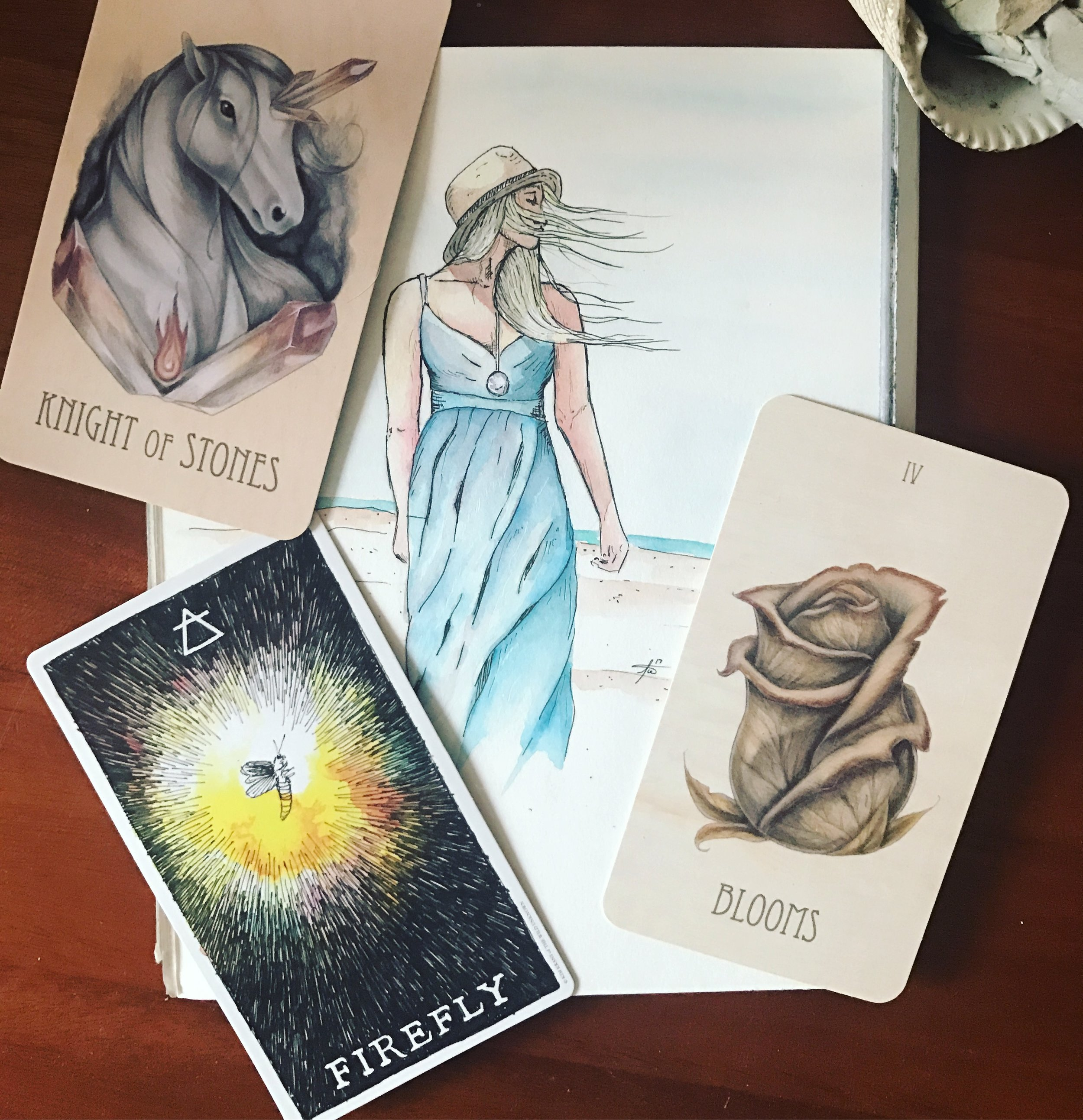 The eclipse and new moon this weekend is occurring in the deep waters of Pisces, and is even conjunct the ruler of this eclipse - Neptune. Also happening on the same day, Mars is conjoining Uranus in Aries, adding some fire and lightning to the mix. How well will our emotions/intuition play with our determination/willpower? I think they will play quite nicely and to our advantage if we channel this energy into fire and water's common ground: our creativity.  And that is very much what today's draw is about (gotta love the synchronicity of the divine)! We can use the moody, deep, reflective, imaginative energy of this eclipse in combination with the passion and anger stirred up by mars to get our pens to paper, brush to canvas, fingers to keyboards, hands to scissors, feet to trails, needles to yarn, etc. Don't waste the inspiration and powerful energy of this moment. Use it to its full advantage, because it will dissipate and all that could have been will be lost, forever.  Seriously. This moment is that special. I wish that temperance would have shown up today, because I just keep thinking of the Wild Unknown's depiction of the heron blending fire and water. Our stars are doing just that, giving us the aid and opportunity to do the same within ourselves. We are being granted an opportunity to connect to a deeper understanding of alchemy. What a gift!  Not to mention the wealth of transformation being offered by this eclipse in and of itself! I highly recommend reading some astrologers' accounts and interpretations.  I included this beautiful piece by my partner, Tim. You can find more of his work in Instagram @artisitador :D  Have a powerful weekend loves.  Blessed be.