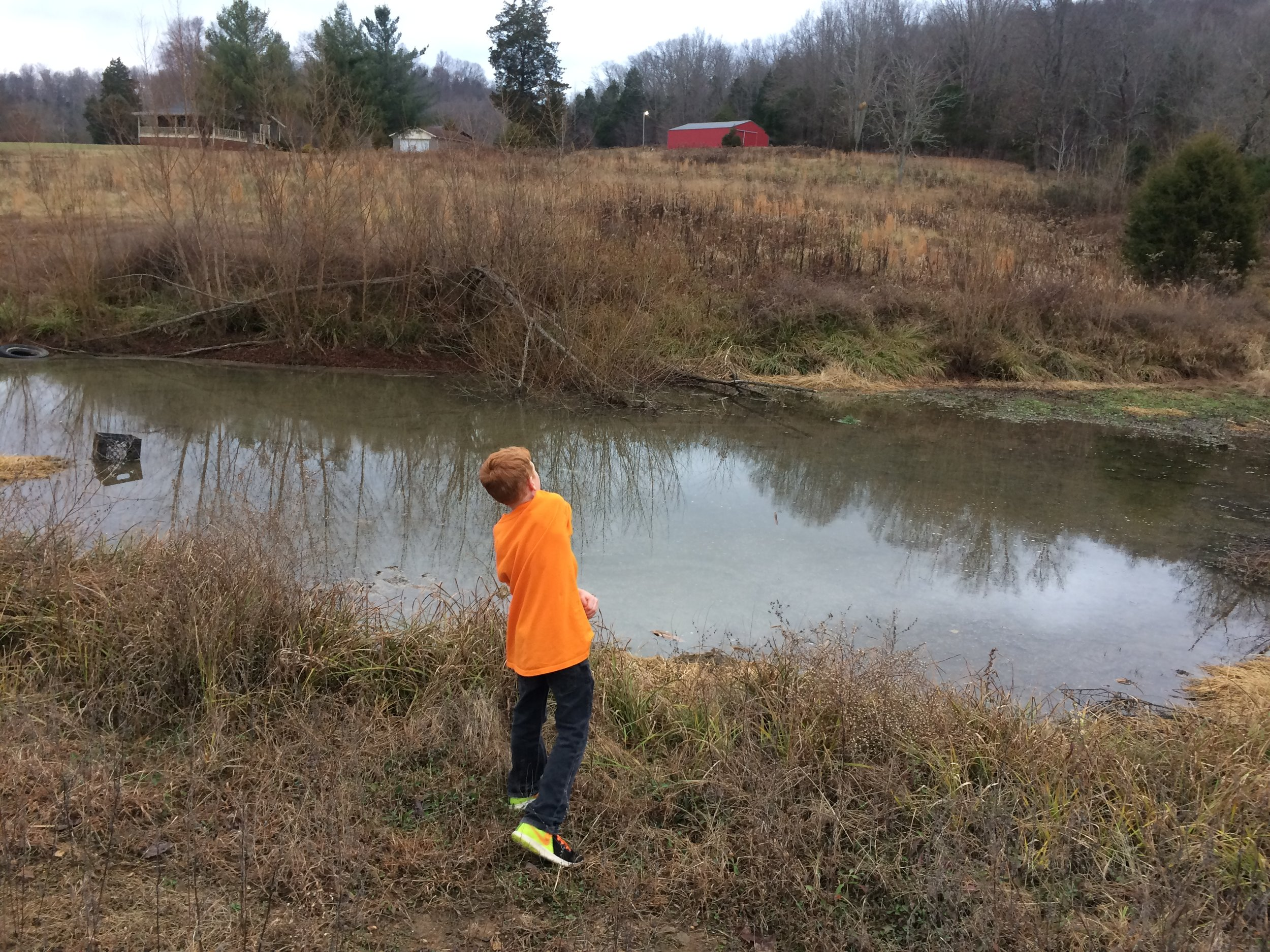Christopher at the pond