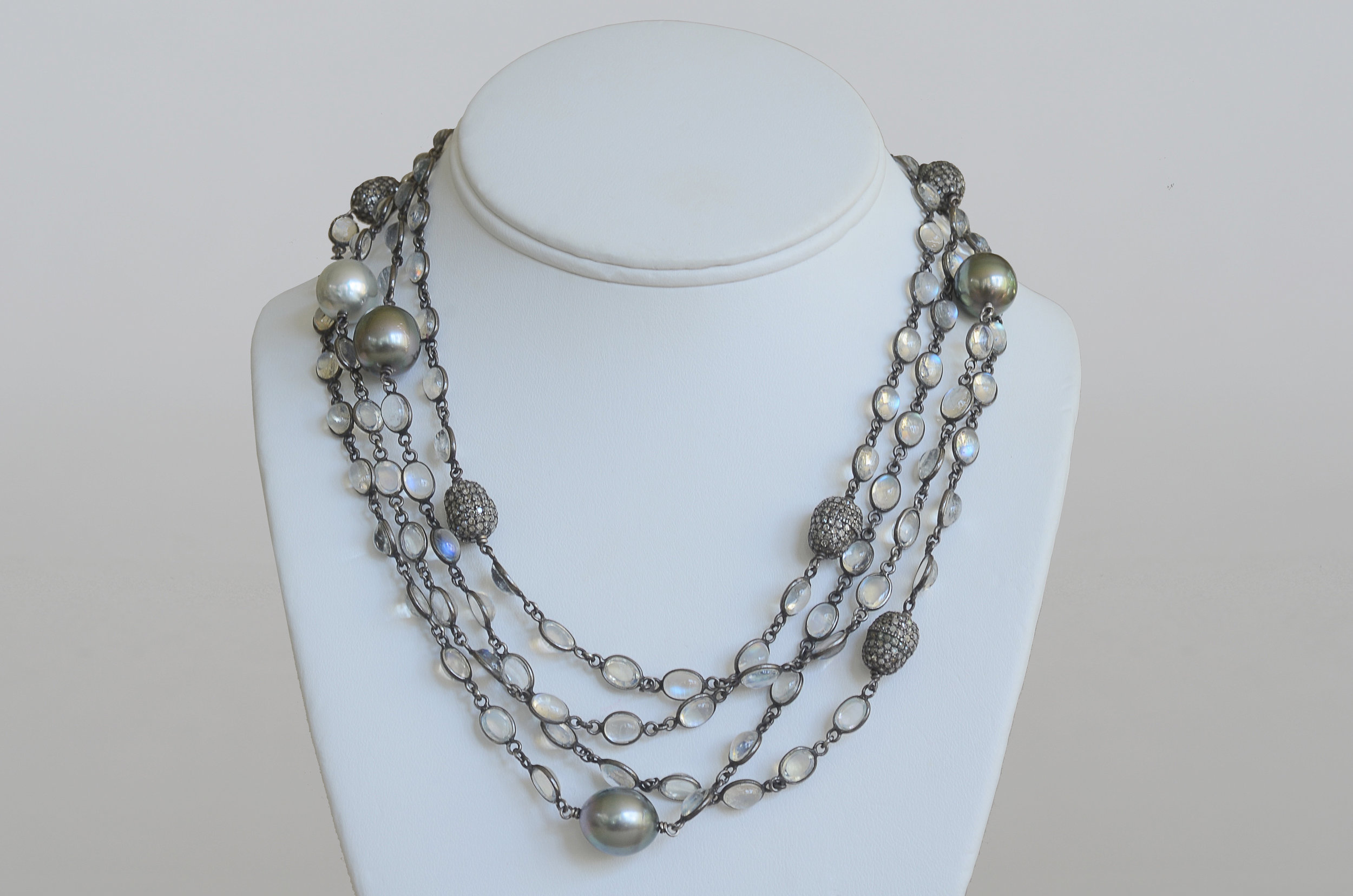 South Sea Pearl, Tahitian Moonstone and Pave Diamond Bead Necklace set in Sterling Silver