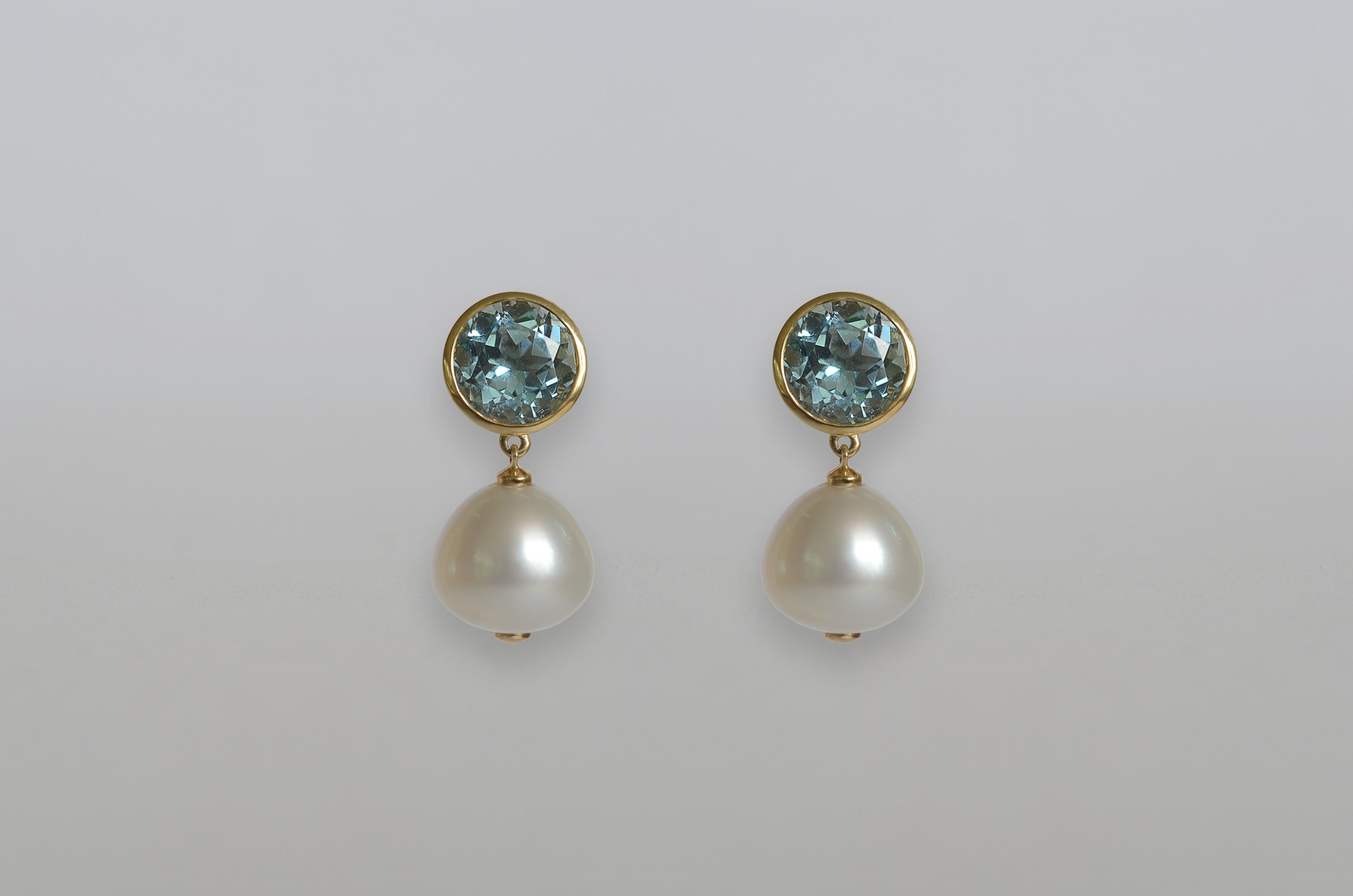 South Sea Pearl with Blue Topaz Drop Earrings set in 18kt Yellow Gold