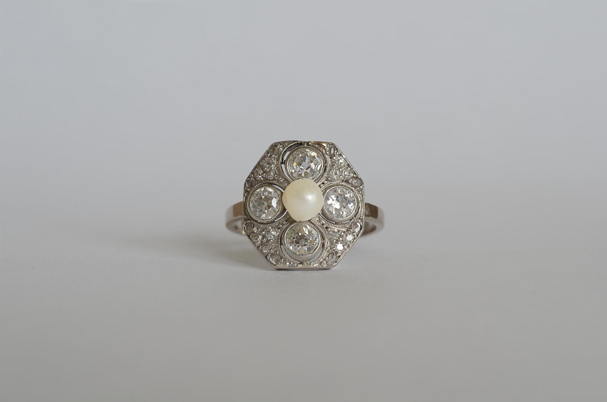 Antique Diamond and Pearl Ring set in Platinum