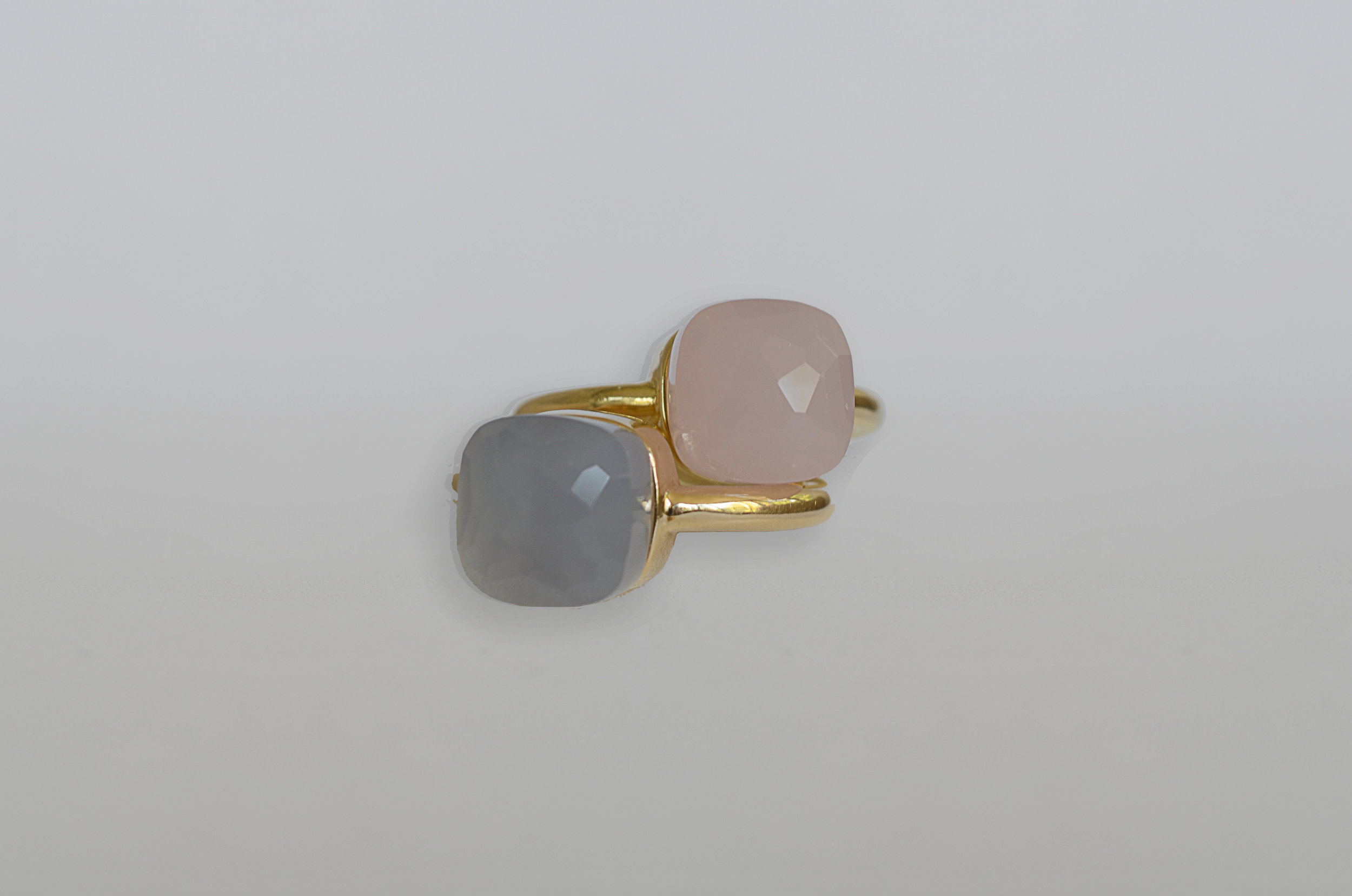 Cabochon Rose Quartz and Blue Chalcedony Rings set in 18kt yellow gold