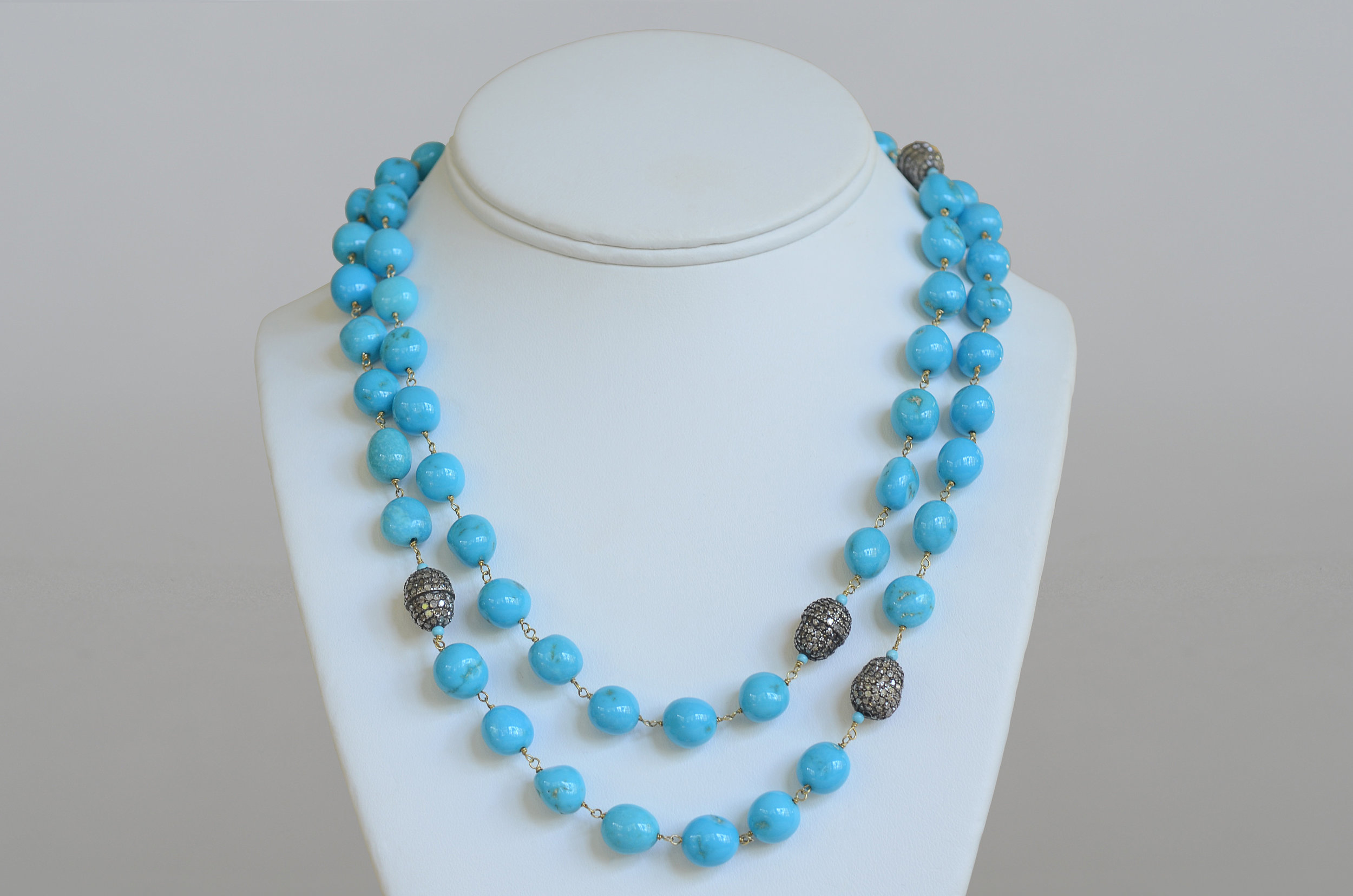 Turquoise Bead Necklace accented with Pave Diamond Beads set in 18kt Yellow Gold and Sterling