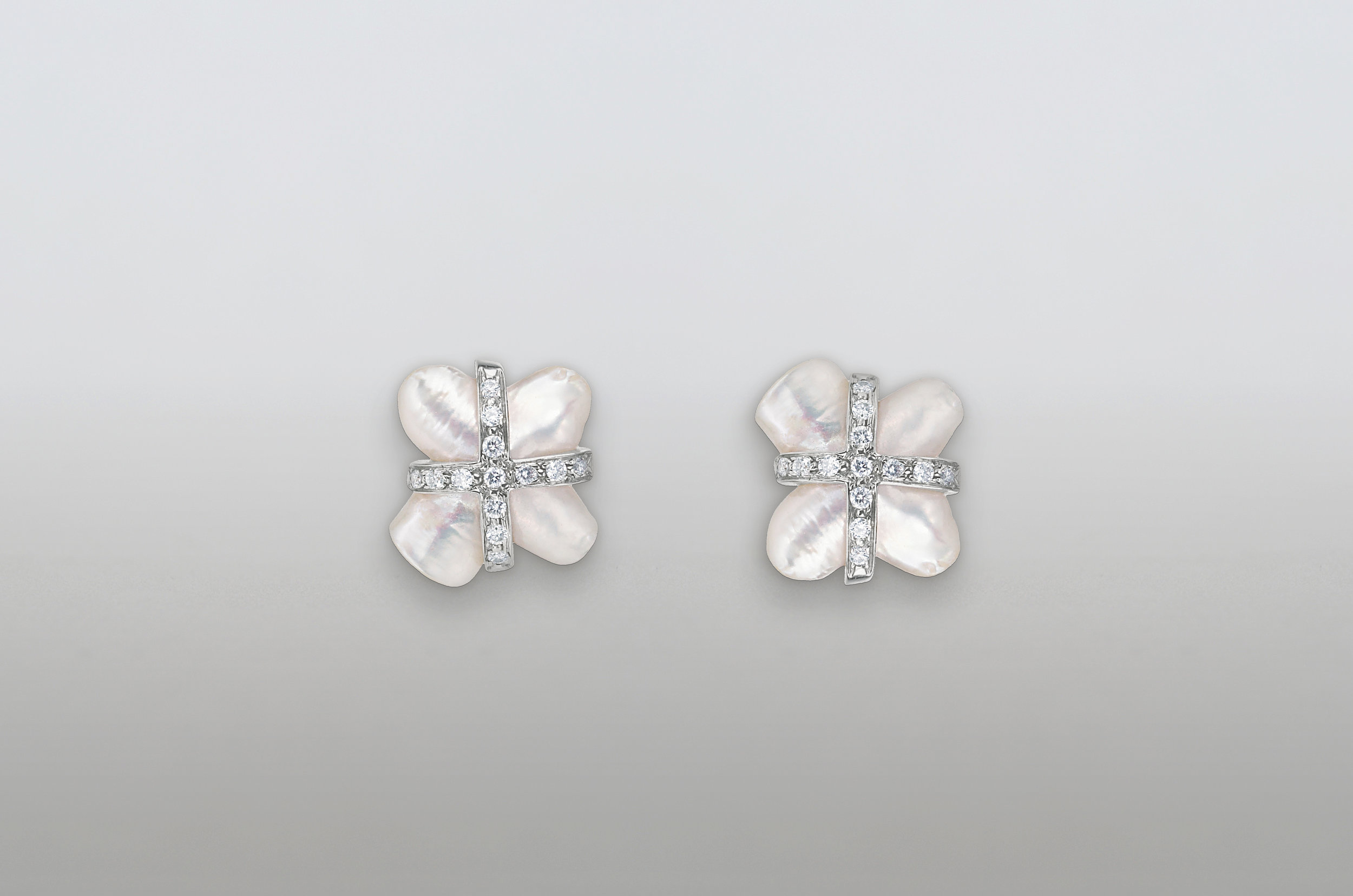 Fresh Water Pearl and .78 Carat Diamond Earrings set in 14kt White Gold