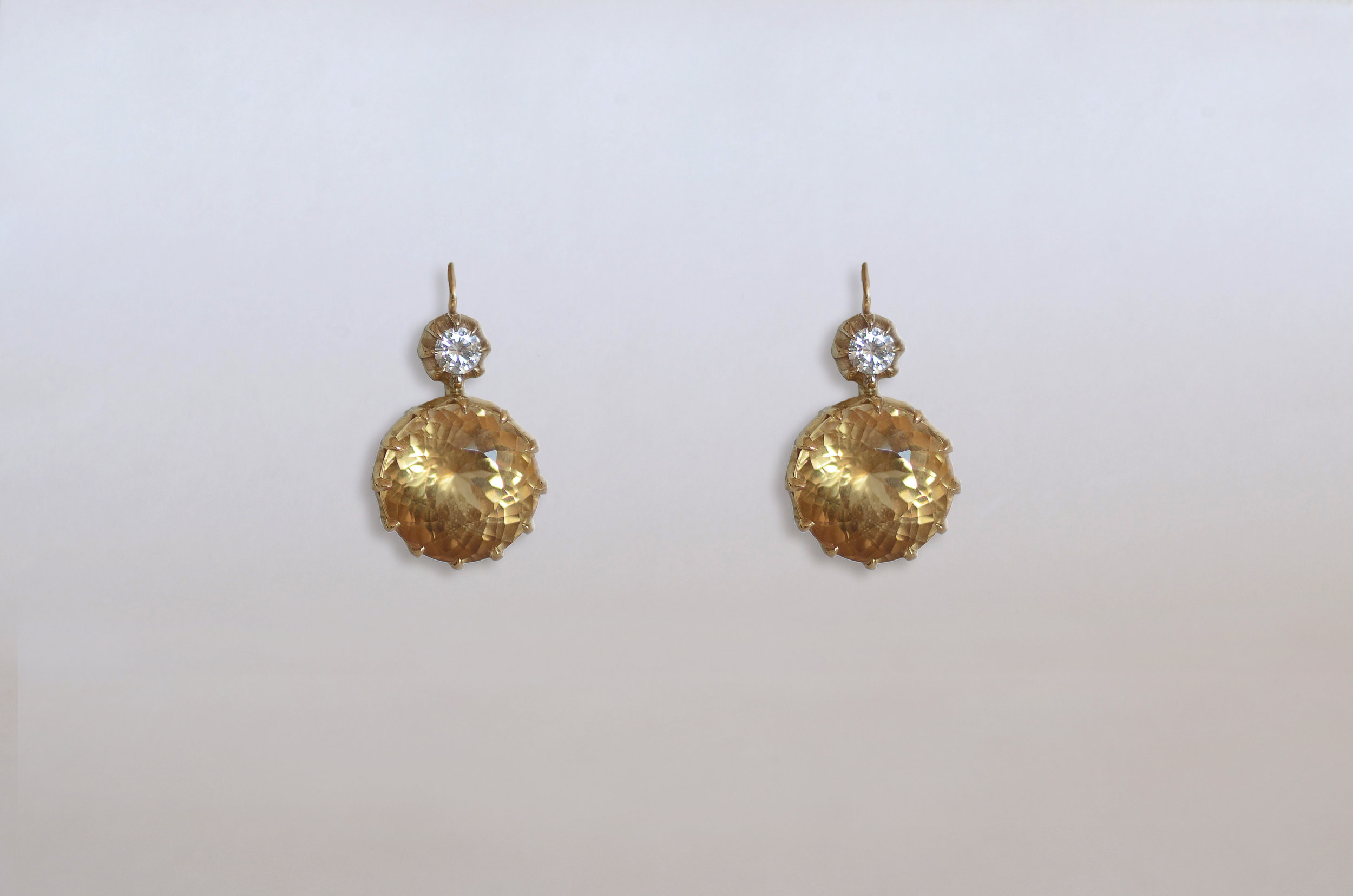 Citrine and Diamond Drop Earrings set in 18kt Yellow and White Gold