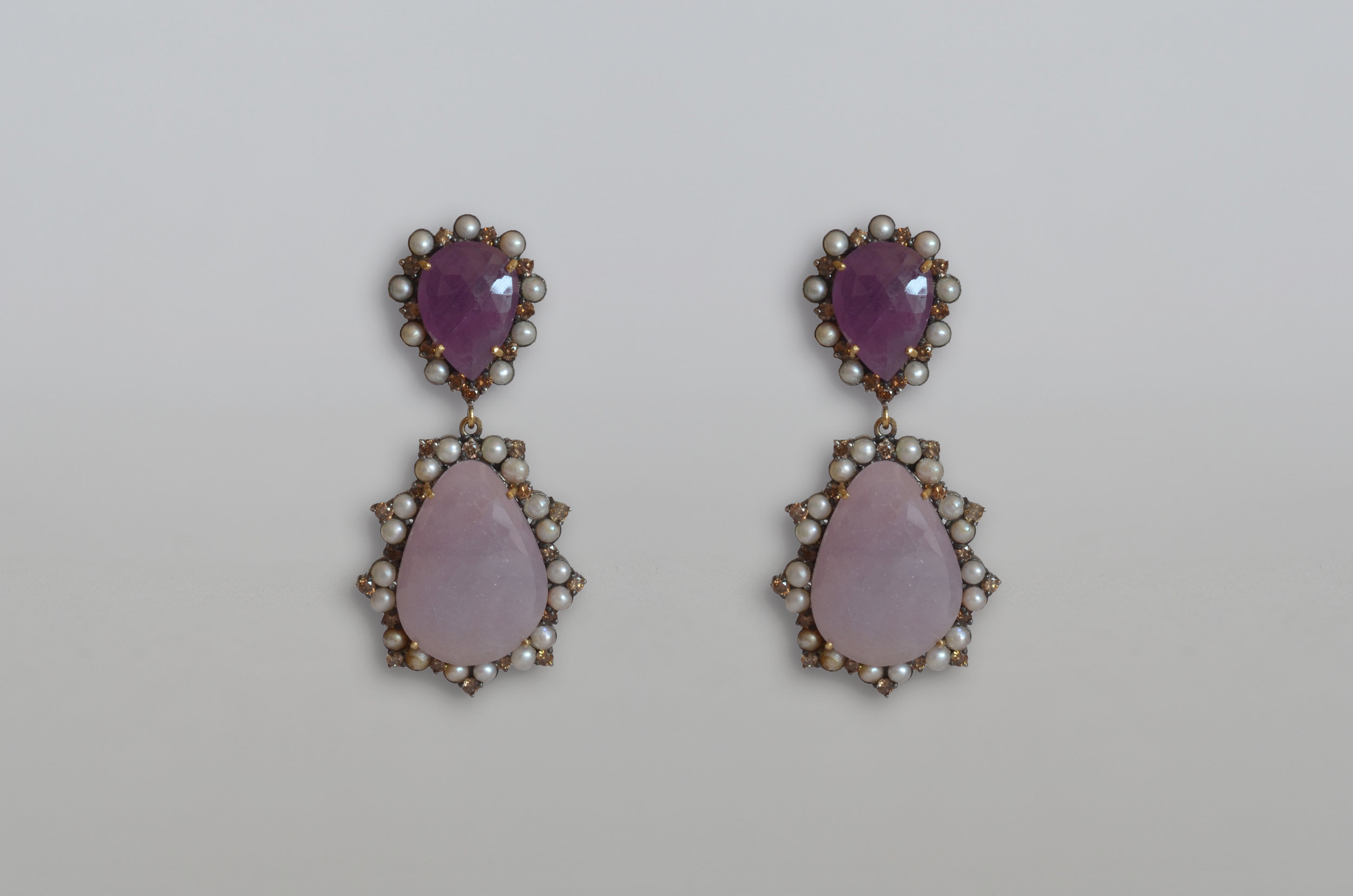 41.40 Carat Pink Sapphire Slice Earrings with 1.86 Carat Diamonds and Pearls set in Sterling Silver with 18kt Gold Posts