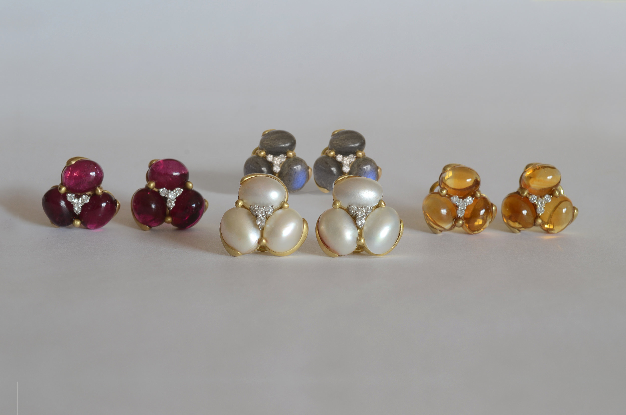 Cluster Stone and .26 Carat Diamond Earrings in 14kt Yellow Gold
