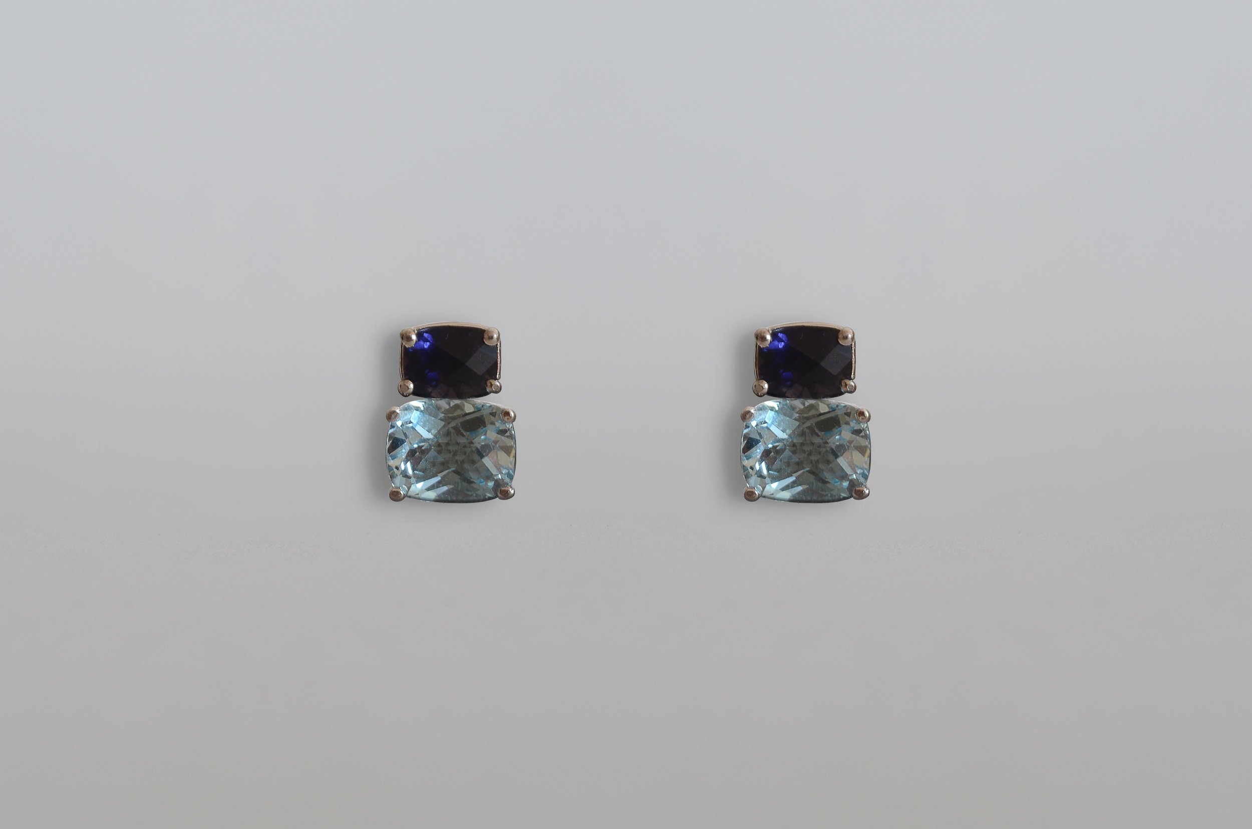Cushion Cut Iolite and Blue Topaz Earring set in 14kt White Gold