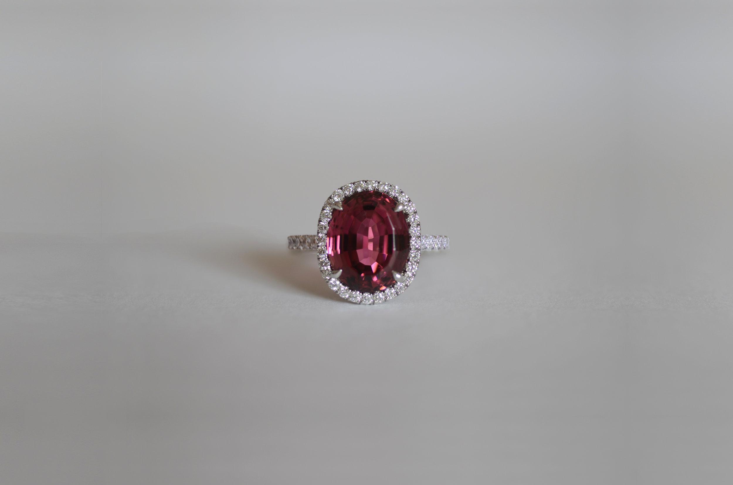 6 Carat Pink Tourmaline with 1.00 Carat total Diamonds set in Platinum