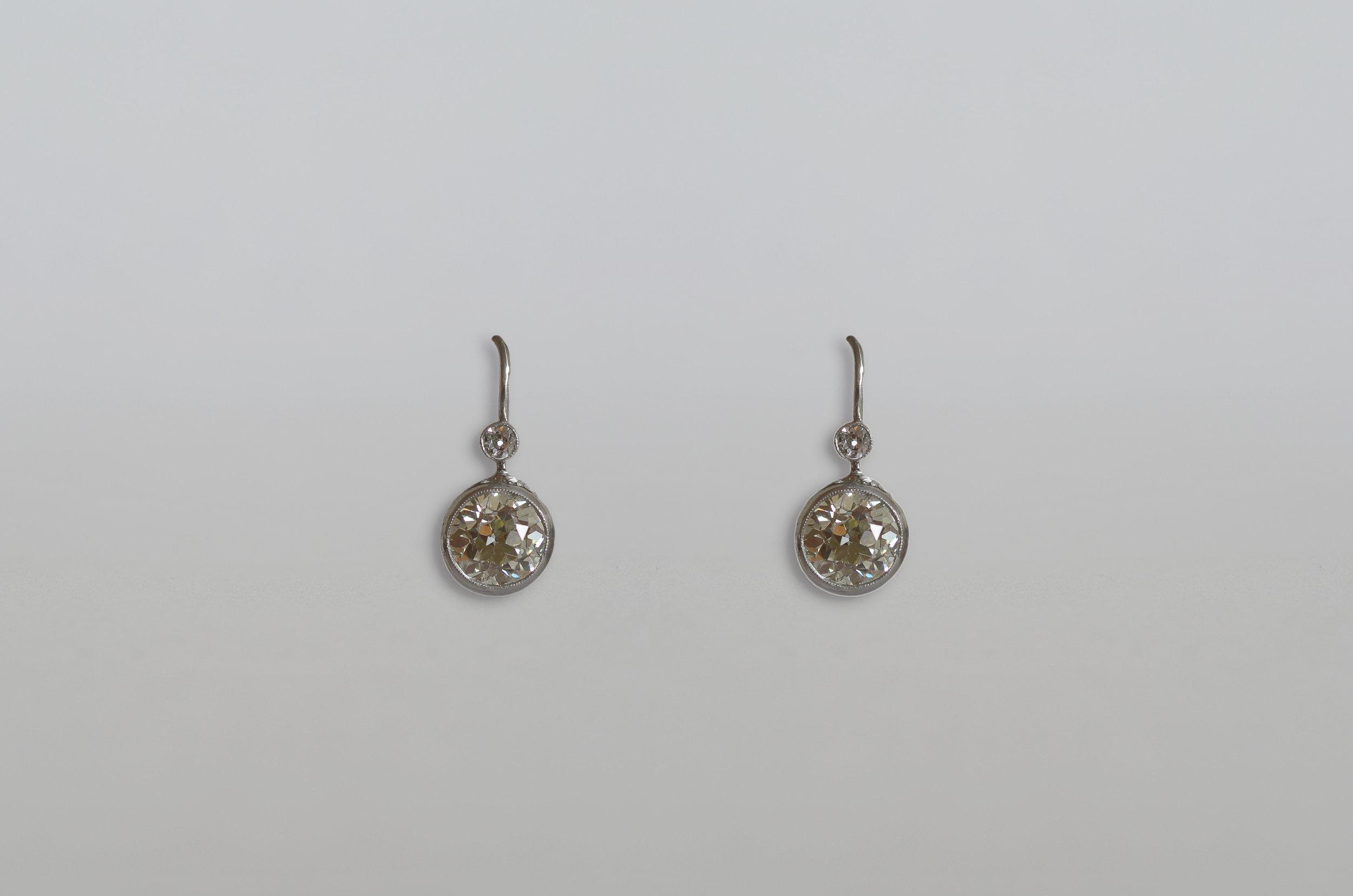 Antique 4.07 Carat Diamond Drop Earring with a total .10 Carat Diamond Top Stones