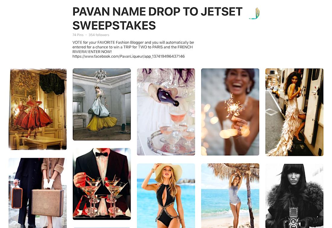 Pavan Liqueur Pinterest Sweepstakes Board
