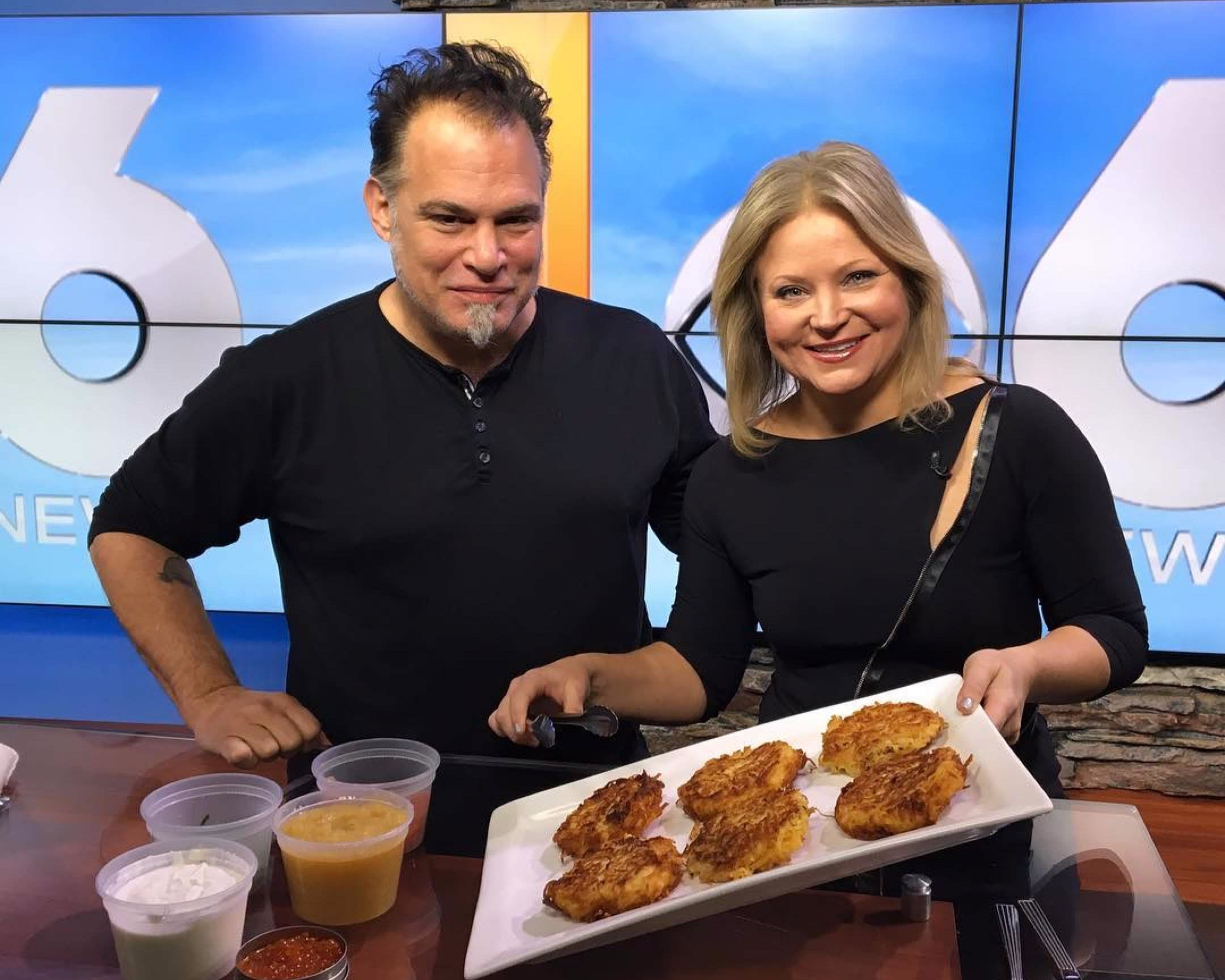 """On Channel 6 in Albany with Heather Kovar, showing off my latkes."" – Ric Orlando"