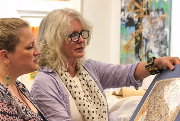 Jen Dragon (right) with Margaret Schwartz of Modern Antiquarian (Stamford, Conn.) at Cross Contemporary Art Gallery, pictured by Andrew Joseph Public Relations for  an  Architectural Digest  feature story  on how contemporary art complements antiques in today's decor.