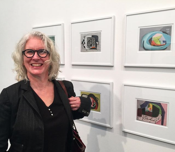 Jen Dragon in January 2019 at Brenda Goodman's solo painting show at Sikkema Jenkins & Co. in the Chelsea neighborhood of New York City.