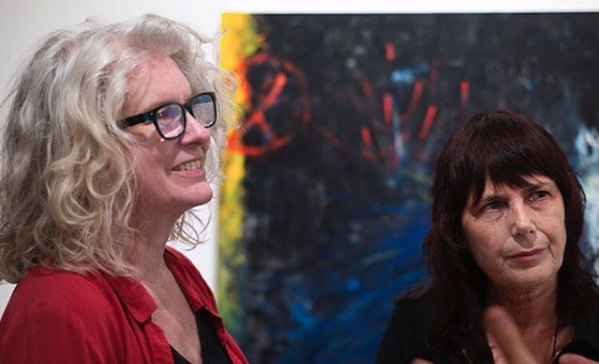 Jen Dragon (left) and Woodstock Film Festival Co-Founder and Executive Director Meira Blaustein at an Hello Saugerties-sponsored event at Cross Contemporary Art Gallery in 2018.