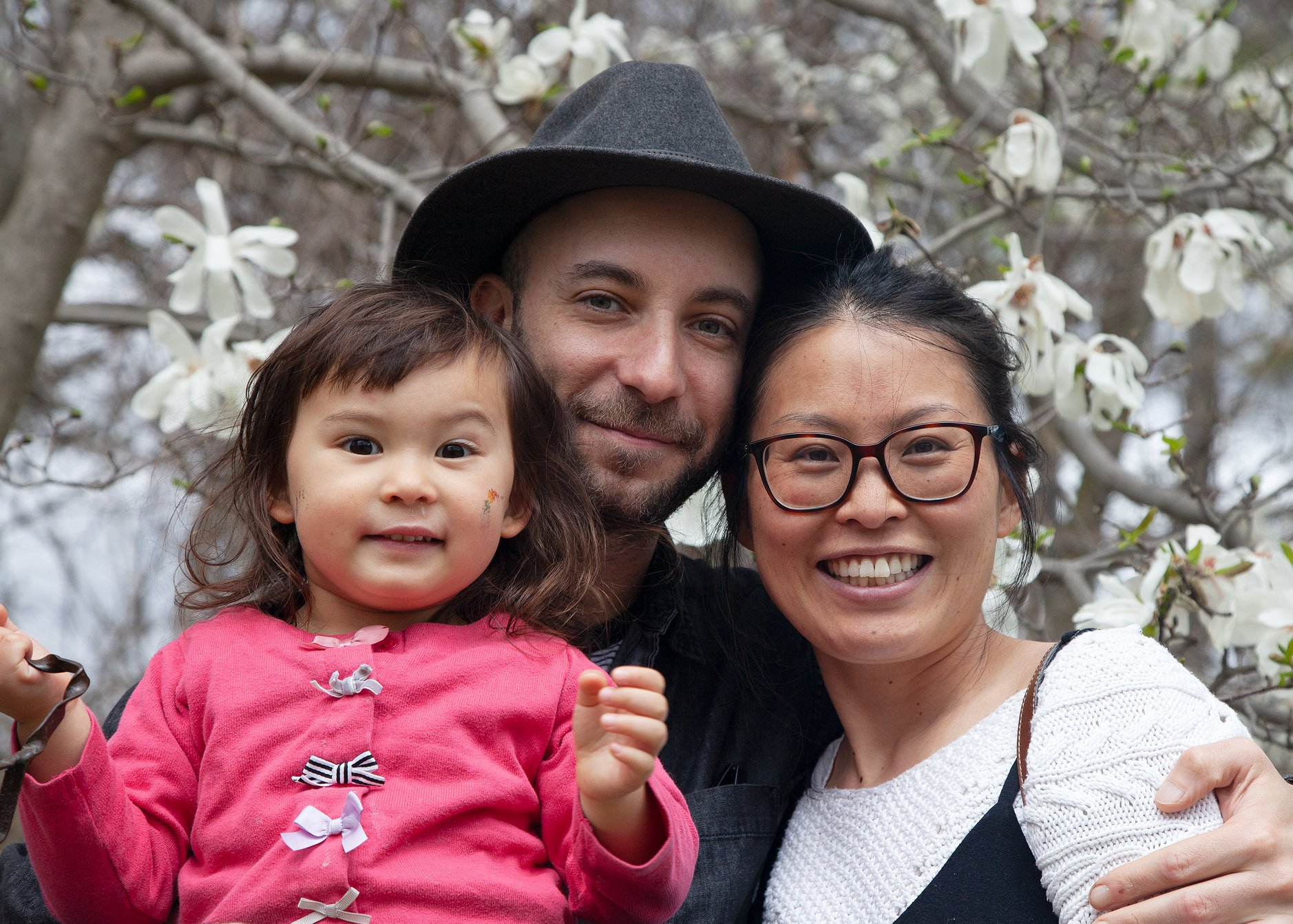 Brandon Schulman (center) with his wife, Japanese photographer and foodist Chiaki Hara Schulman, and their daughter Mila Hannah Schulman.
