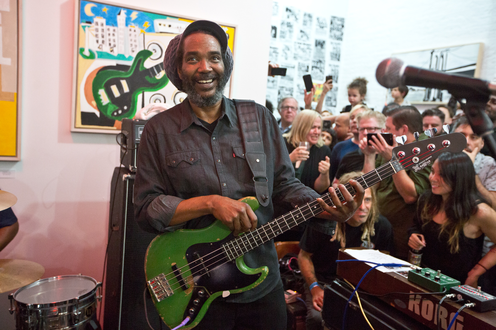 Darryl Jenifer, playing with Bad Brains, at the MIND POWER show at Okay Space in New York City