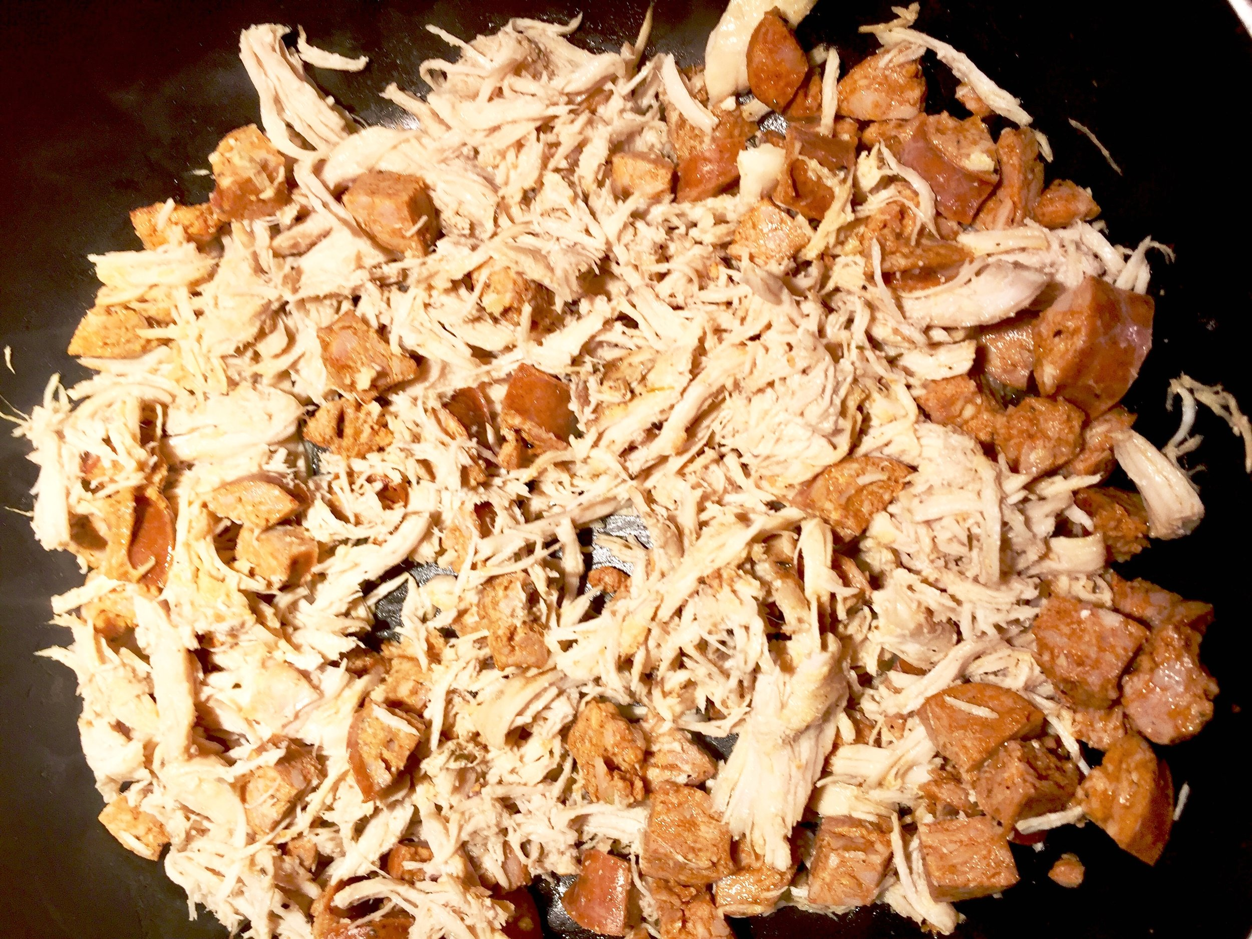 Shredded chicken and Andouille sausage