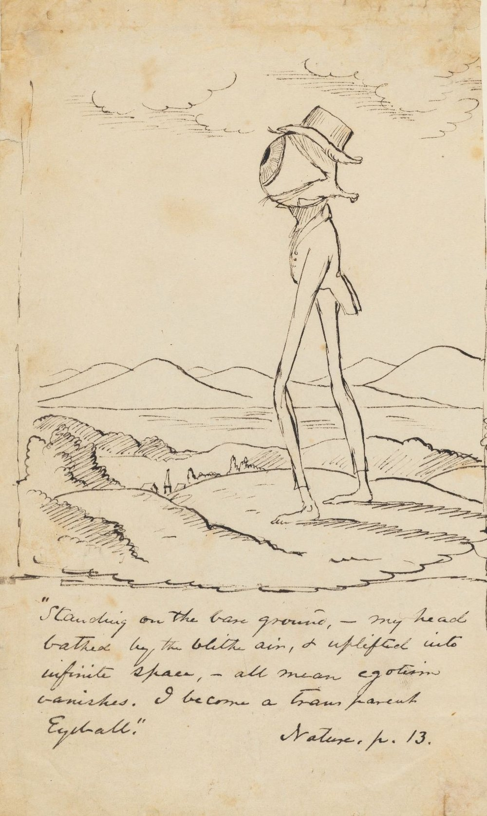 Drawing by Christopher Pearse Cranch; Houghton Library at Harvard University (Public Domain)