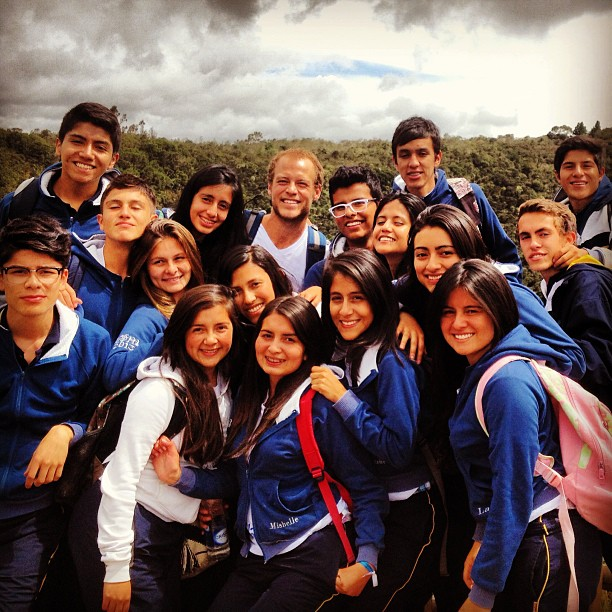 BVC Bogota 2013 Nick Olsen with students.jpg