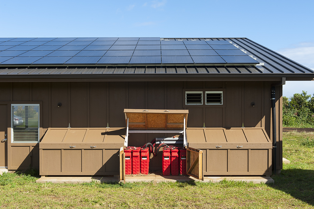 PV array and battery backup provide for 100% power needs at the property