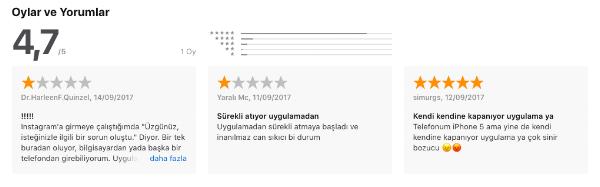 Örnek uygulama rating ve yorumları (Instagram)