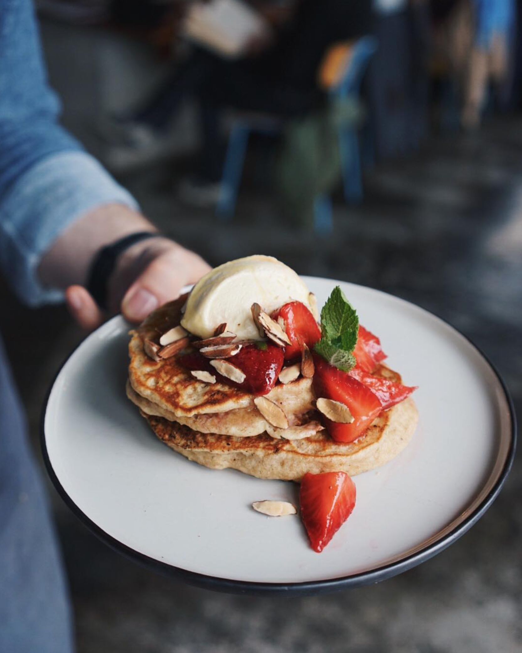 Sweet Special, 13th April 2017 : Spelt and Raisin Pancakes with  Infinity Farm  Honey, Lemon Balm Mascarpone, Macerated Strawberries and Toasted Almonds. Photo: Established Coffee
