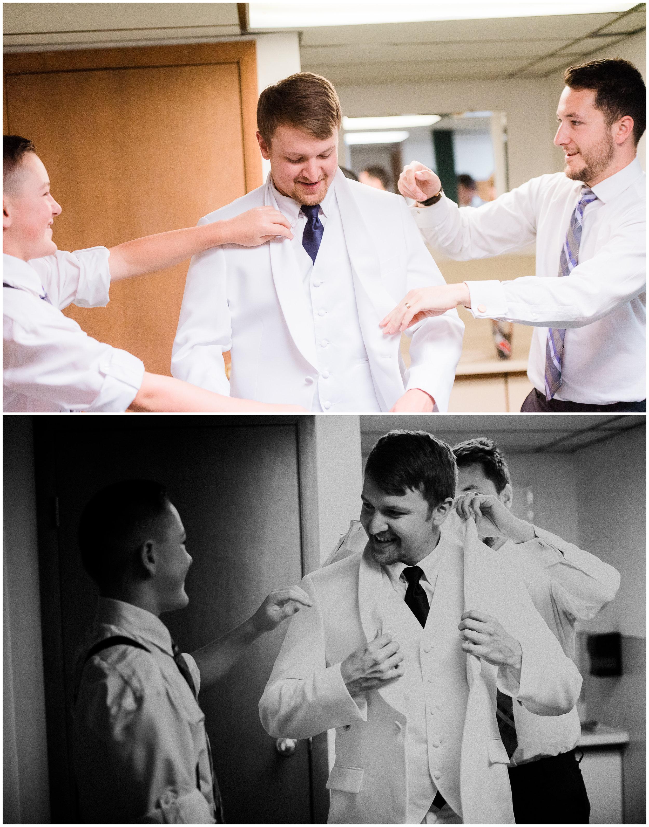 Boys getting ready for the wedding
