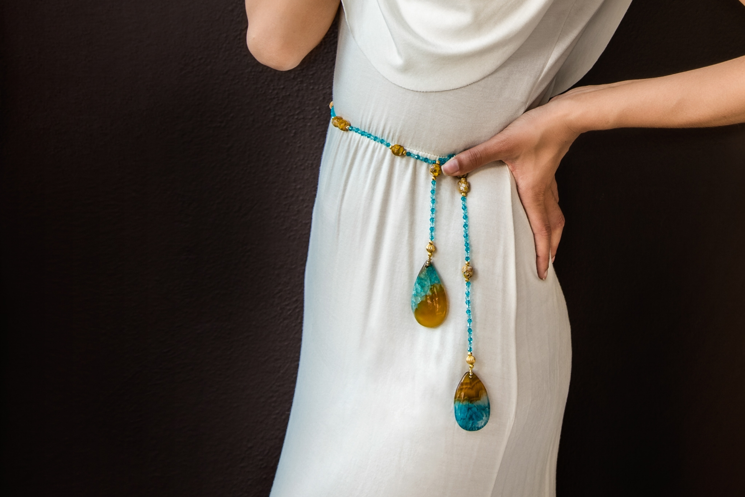 'Multi-Functional' by CiCi - With two styles of necklaces exhibited here, one can find necklaces for all occasions and functions.Wrap-Arounds / Ties start from £95.00Necklaces / Glasses Holders start from £45.99