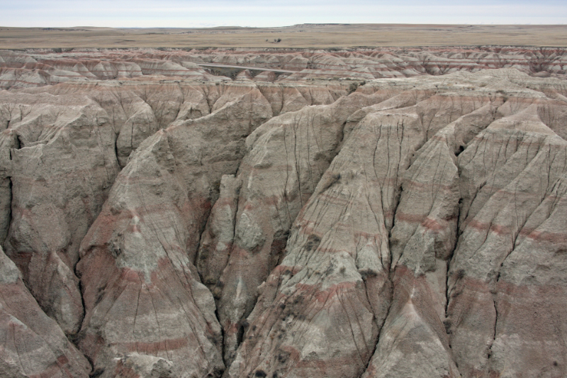 Erosion reveals subsurface strata in the Eastern Montana badlands.