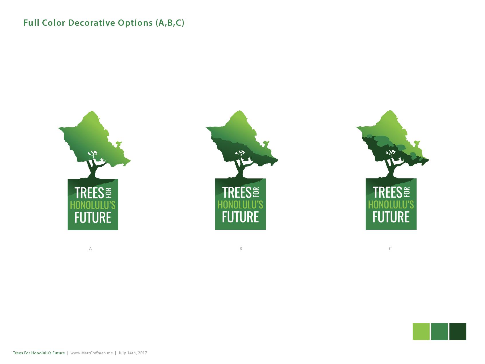 Trees for Honolulu's Future A, B, C Logo Options