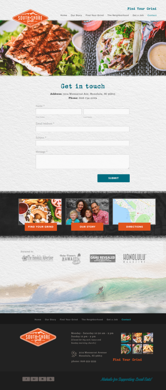 South Shore Grill contact us page website design