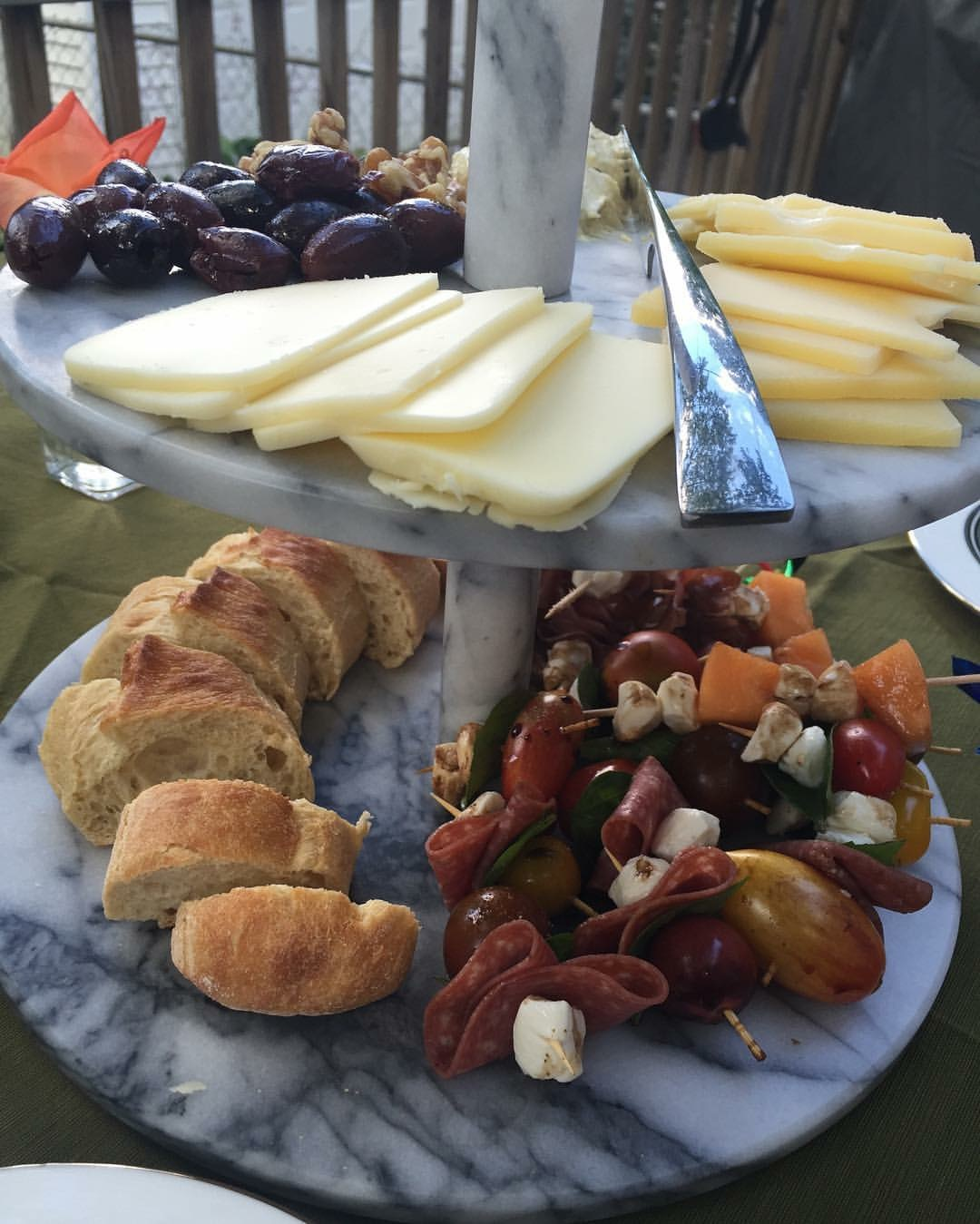 This is picture taken of an appetizer platter I created for my birthday last year. There are few things I love more than a good cheese plate. This one was complete with the melon, prosciutto, and mozzarella skewer recipe I linked to above. Seriously, so good and so pretty.