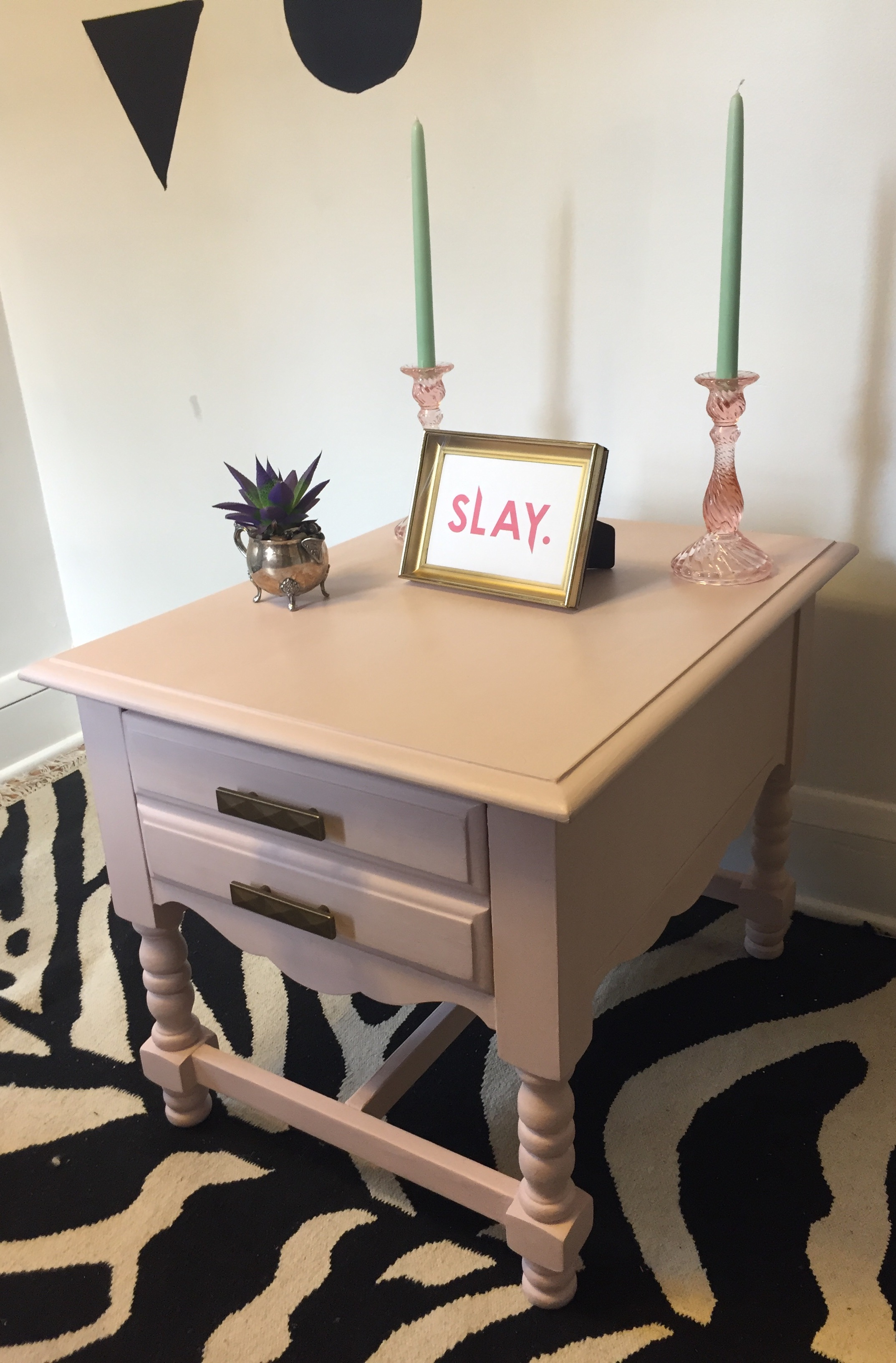 Blush Pink or Bust Upcycled Wood End Table