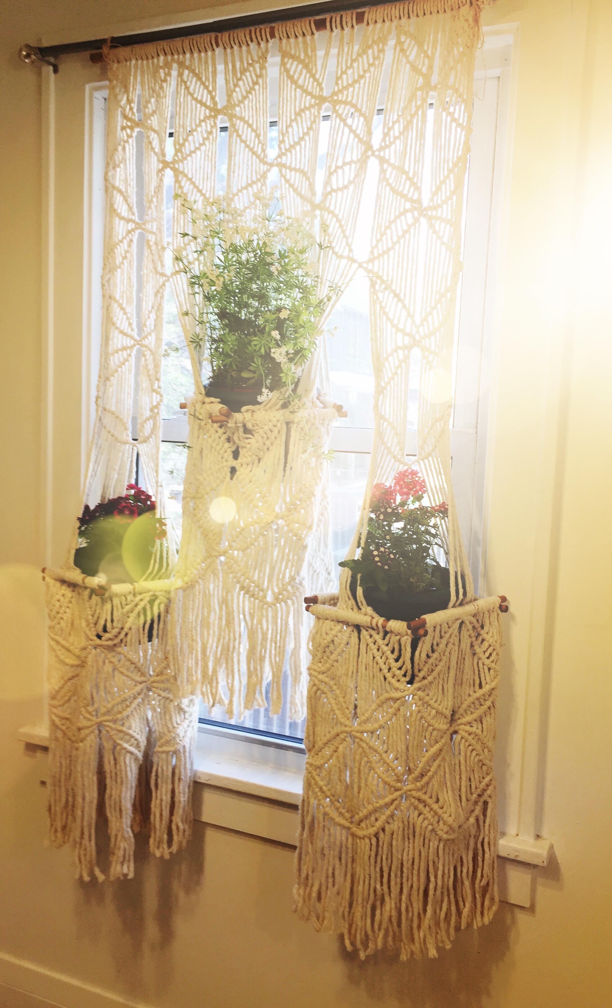Knotty by Nature Vintage Macramé Plant Hanger Curtain