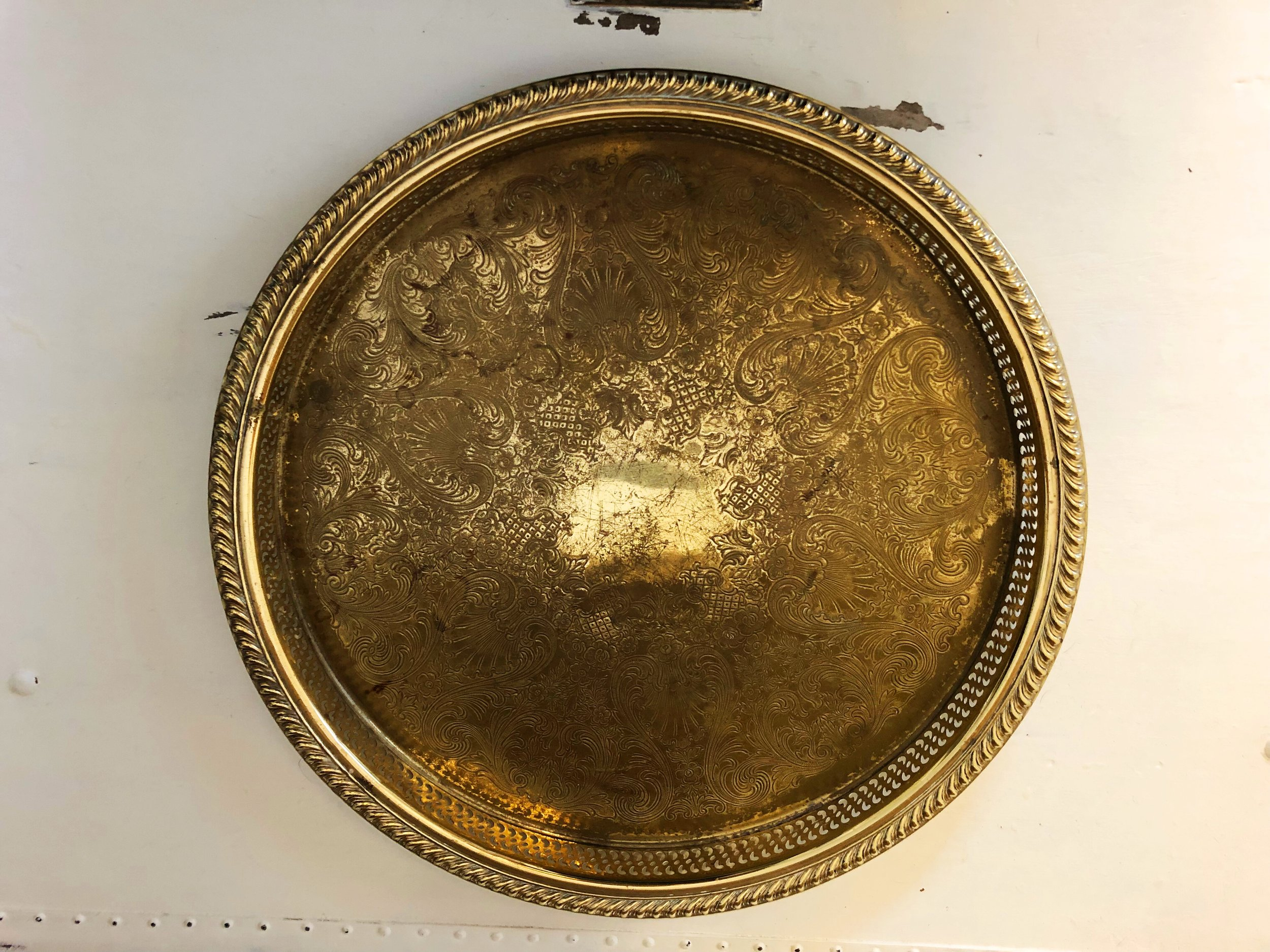Grab this  vintage brass tray  with this amazing patina for $25.
