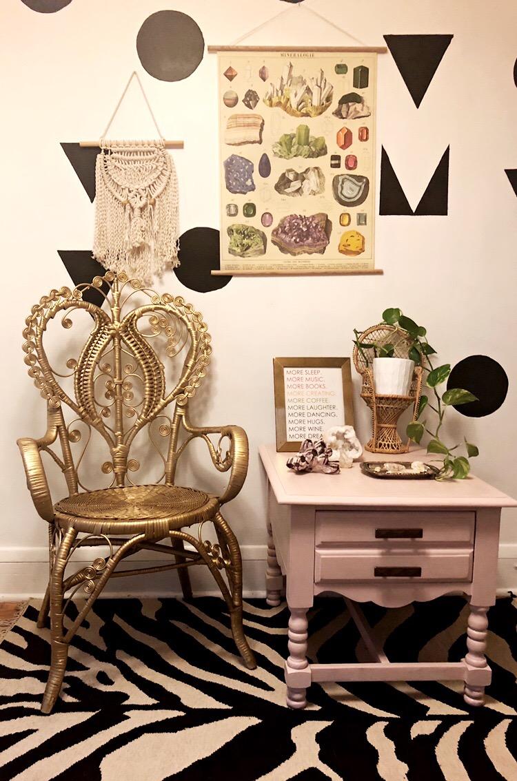 Gold Wicker Vintage Boho Throne