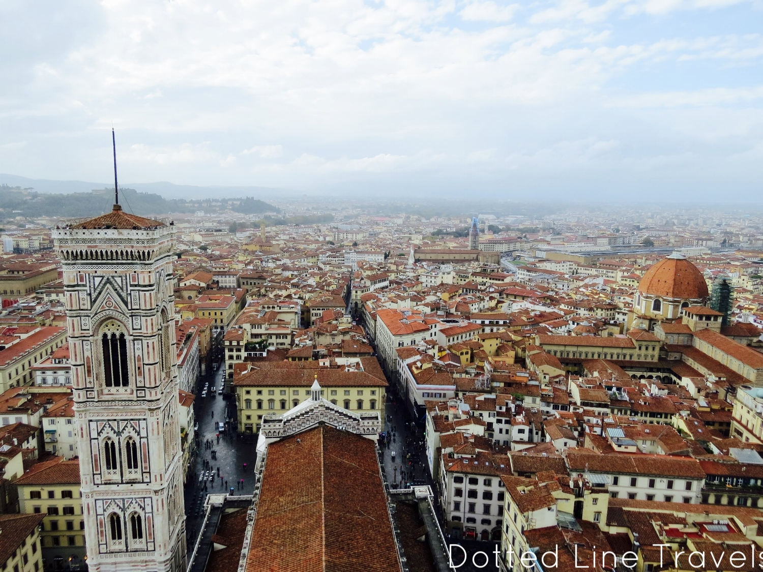 View from the dome, Giotto's Bell Tower is seen on the left.