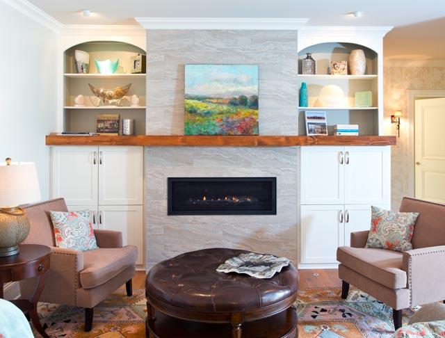 Modern Custom Home-Living Room, Stone Fireplace.jpg