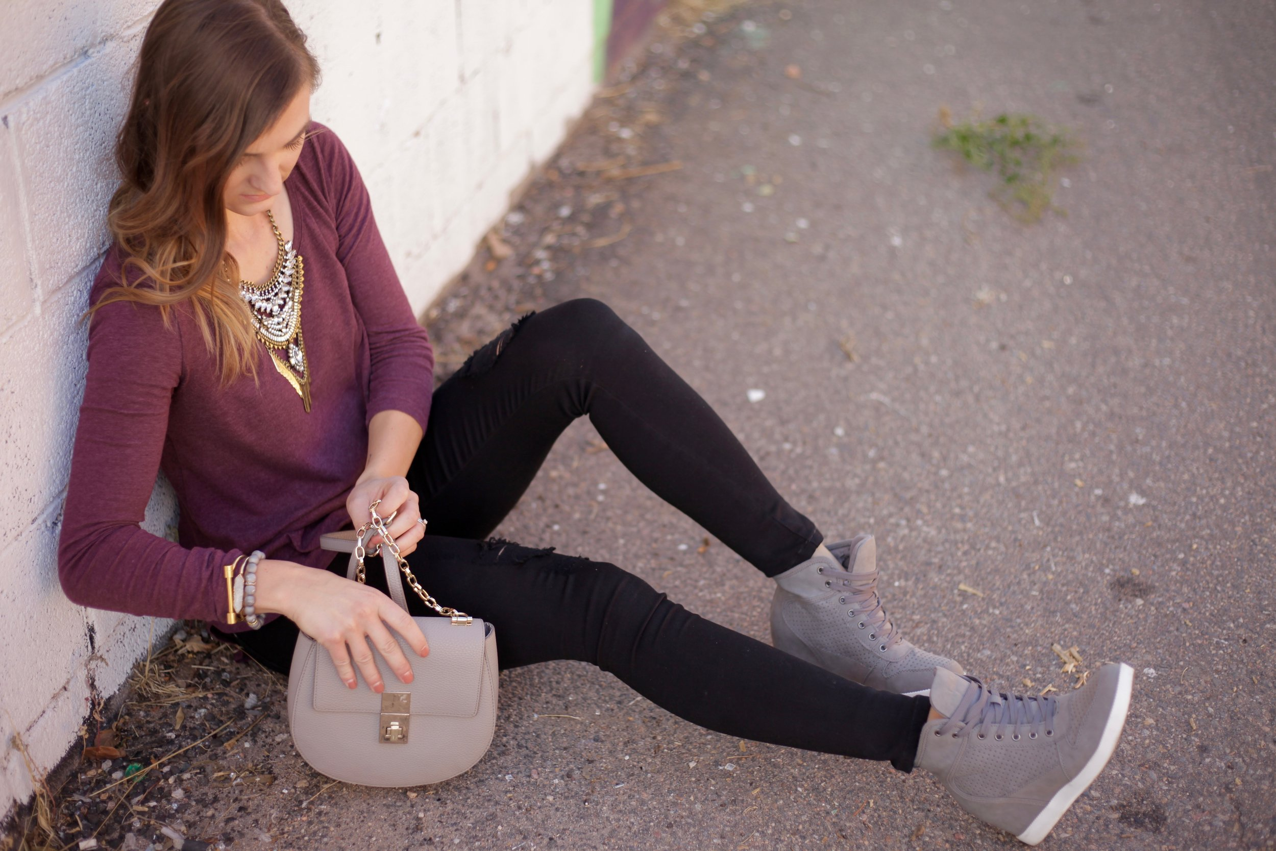 Statement Necklace  similar ,  HERE  ,  HERE  and  HERE // Wedge sneakers  similar , and  HERE  // Bag  similar  //  Black Denim , similar  HERE  and  HERE  //  BP Top  //  Crystal Cuff  //  Bar Bracelet  //  Geode Bracelet