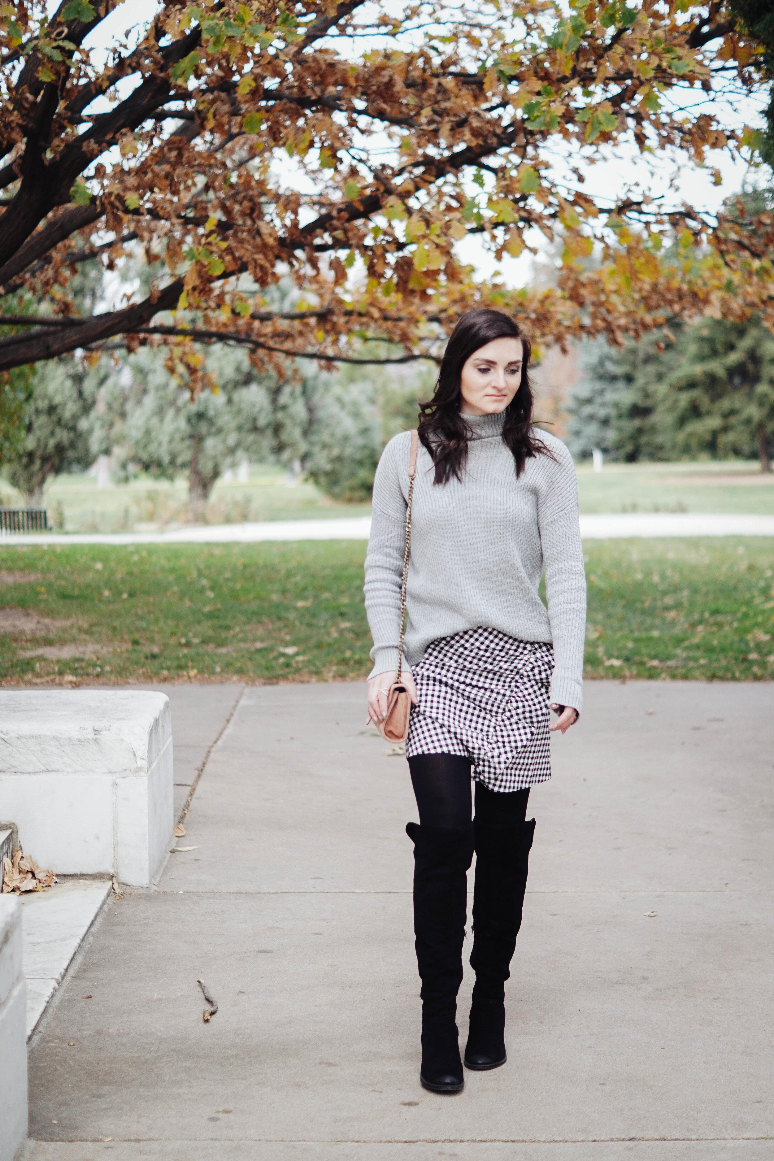 BP Mock Neck Sweater  //  Zara Skirt  //  OTK Boots  //  Bag