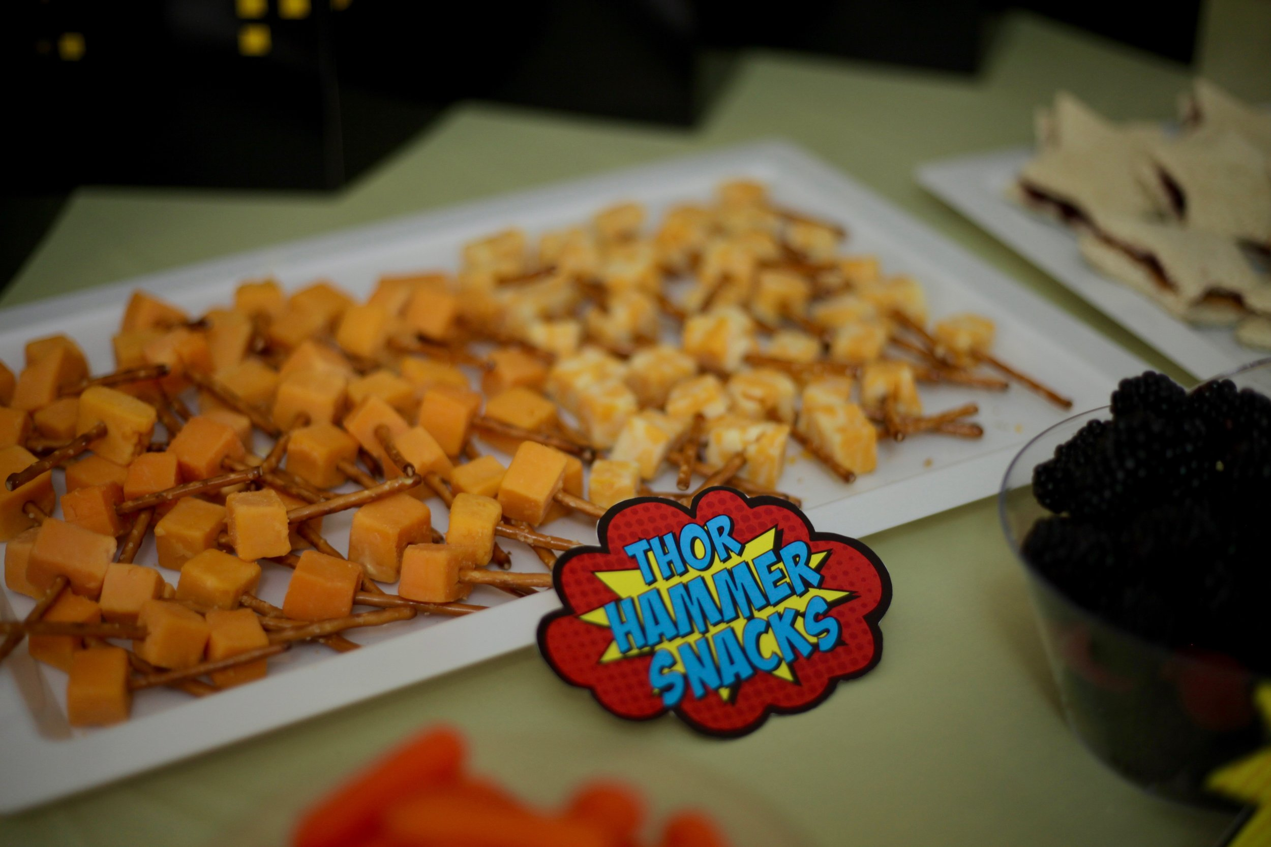 Pretzel sticks and cheese cubes made a super easy and cute Thor themed snack!
