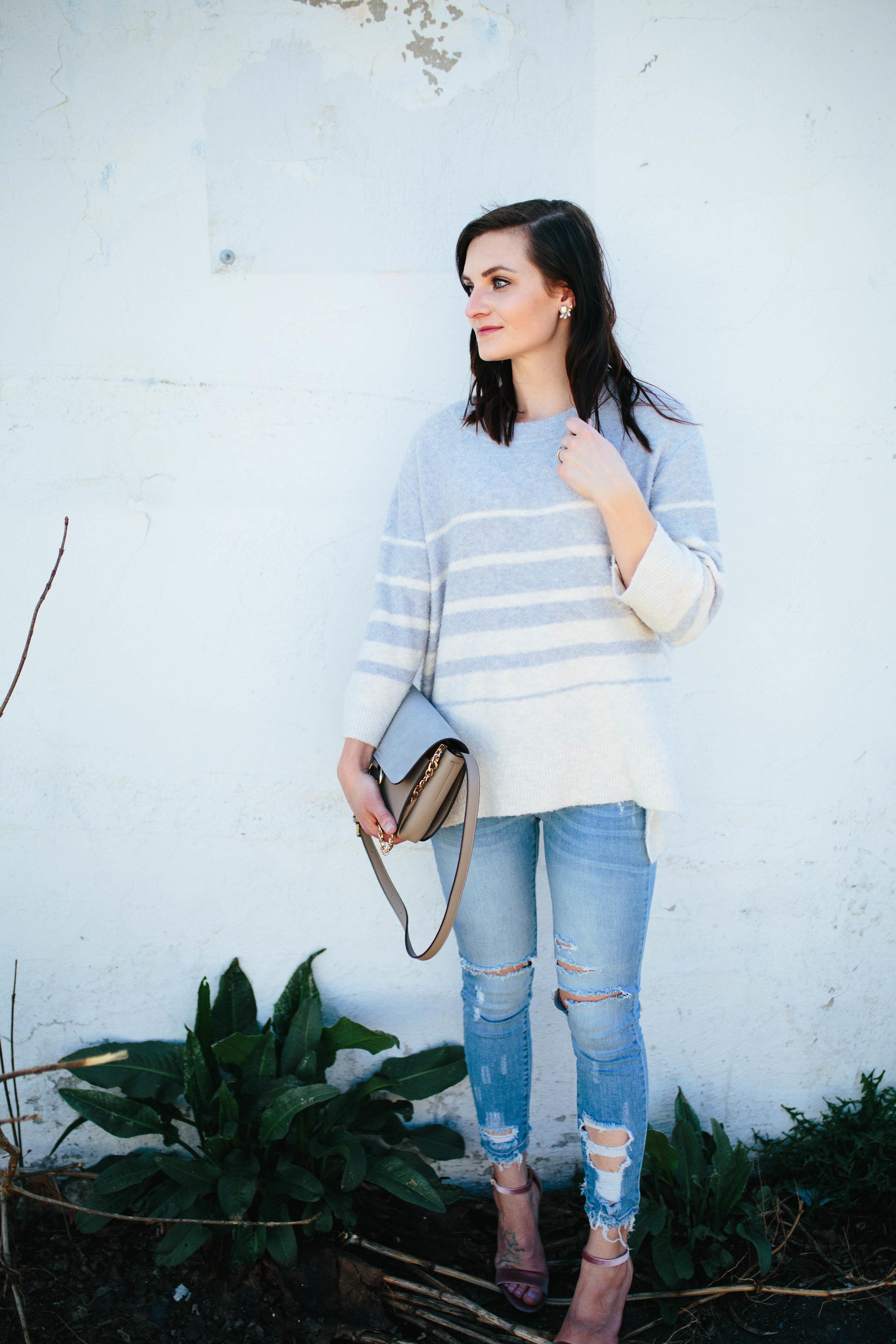 Sweater  on major sale!! //  Heels  also on sale! // Denim similar  here  //  Purse