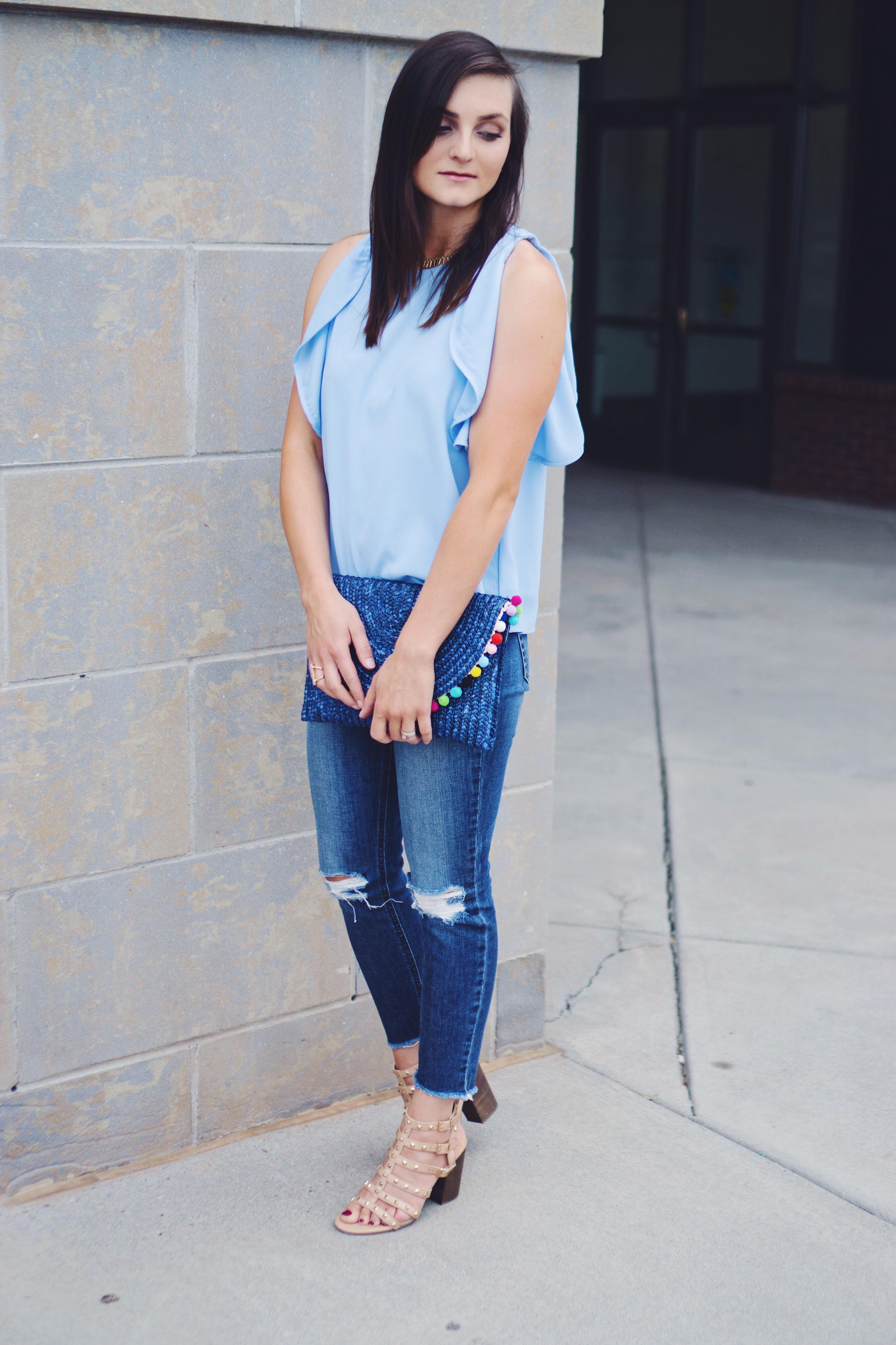 """<img src =""""flutter-sleeve-tank-joes-jeans-collector's-blondie-desstroyed-skinny-jeans-coppola-valentino-rockstud-dupe-betsyville-naveah-gladiator-sandal-heel-pom-pom-straw-clutch-teddy-bears-and-lipstick-summer-style-outift"""""""