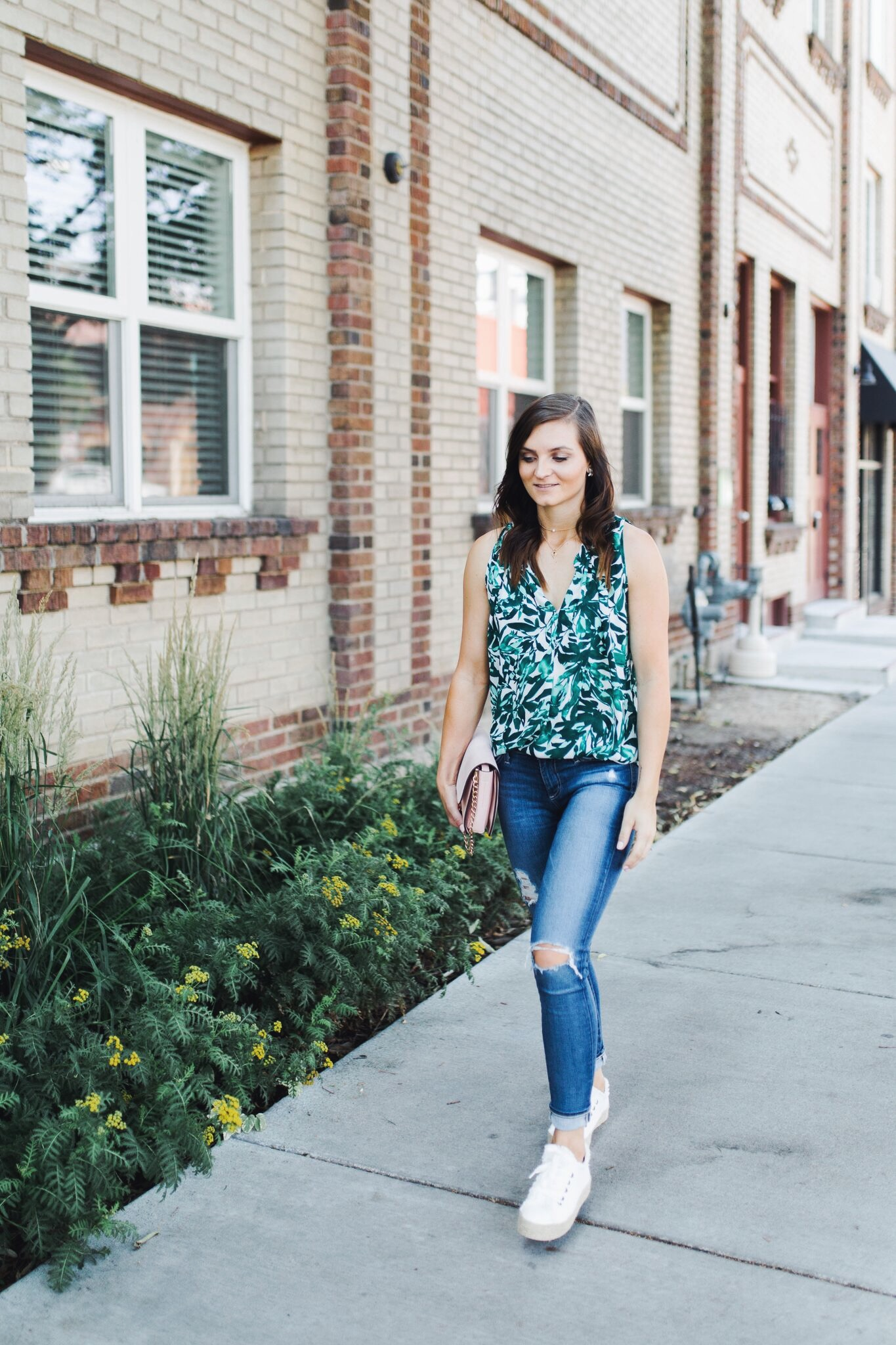 """<img src= five-summer-pieces-to-have-in-your-closet.jpg"""" alt= """"fashion-blogger-walking-the-streets-of-denver-wearing-summer-essential-pieces-to-have-in-your-closet-bold-patterned-tank-top-blouse-white-espadrille-platform-sneakers-ag-adriano-goldschmied-11-year-swapmeet-distressed-skinny-jeans"""">"""