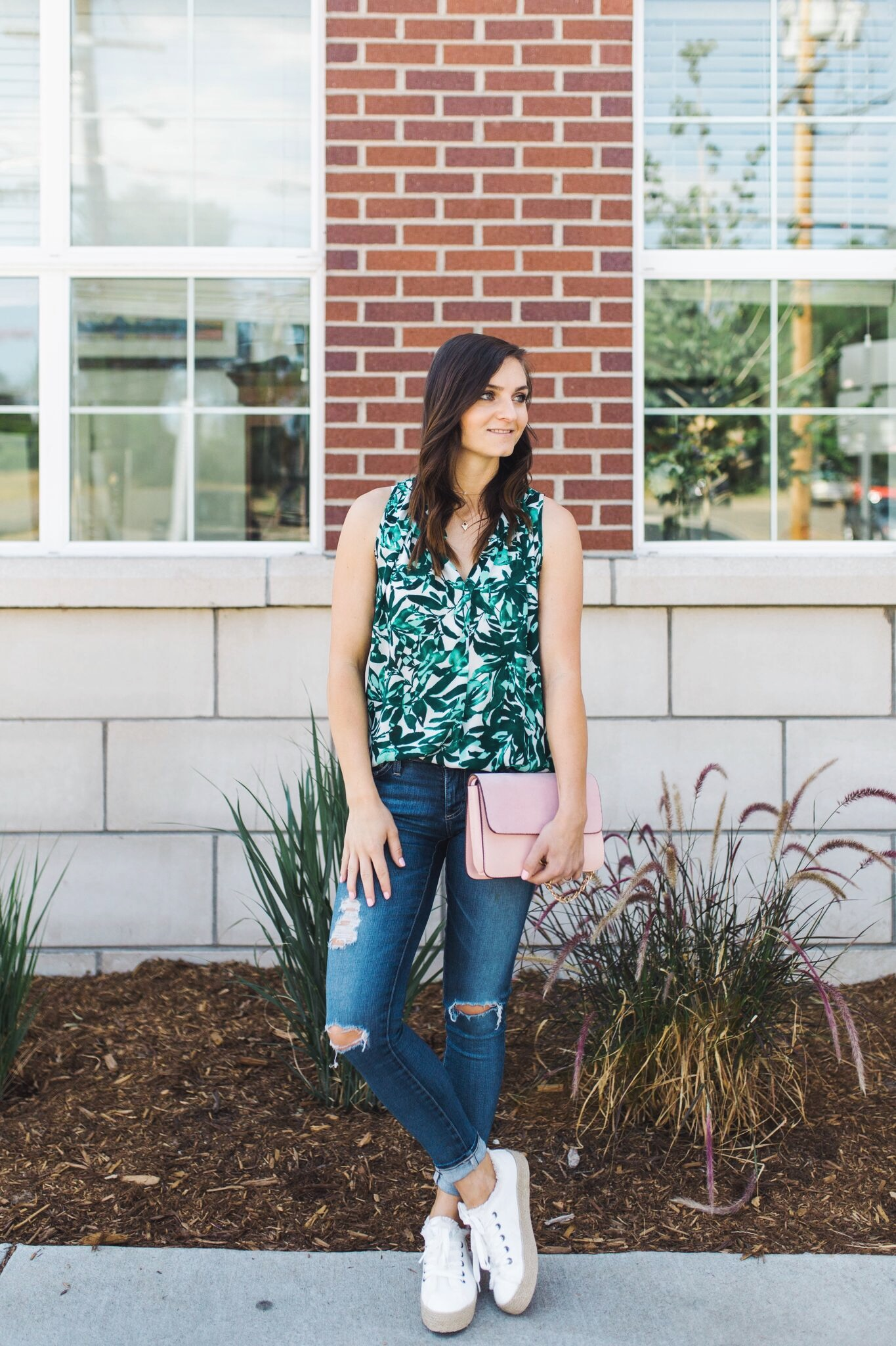 """<img src= five-summer-pieces-to-have-in-your-closet.jpg"""" alt= """"denver-fashion-blogger-wearing-summer-essential-pieces-to-have-in-your-closet-bold-patterned-tank-top-blouse-white-espadrille-platform-sneakers-ag-adriano-goldschmied-11-year-swapmeet-distressed-skinny-jeans-light-pink-chloe-faye-dupe-bag"""">"""